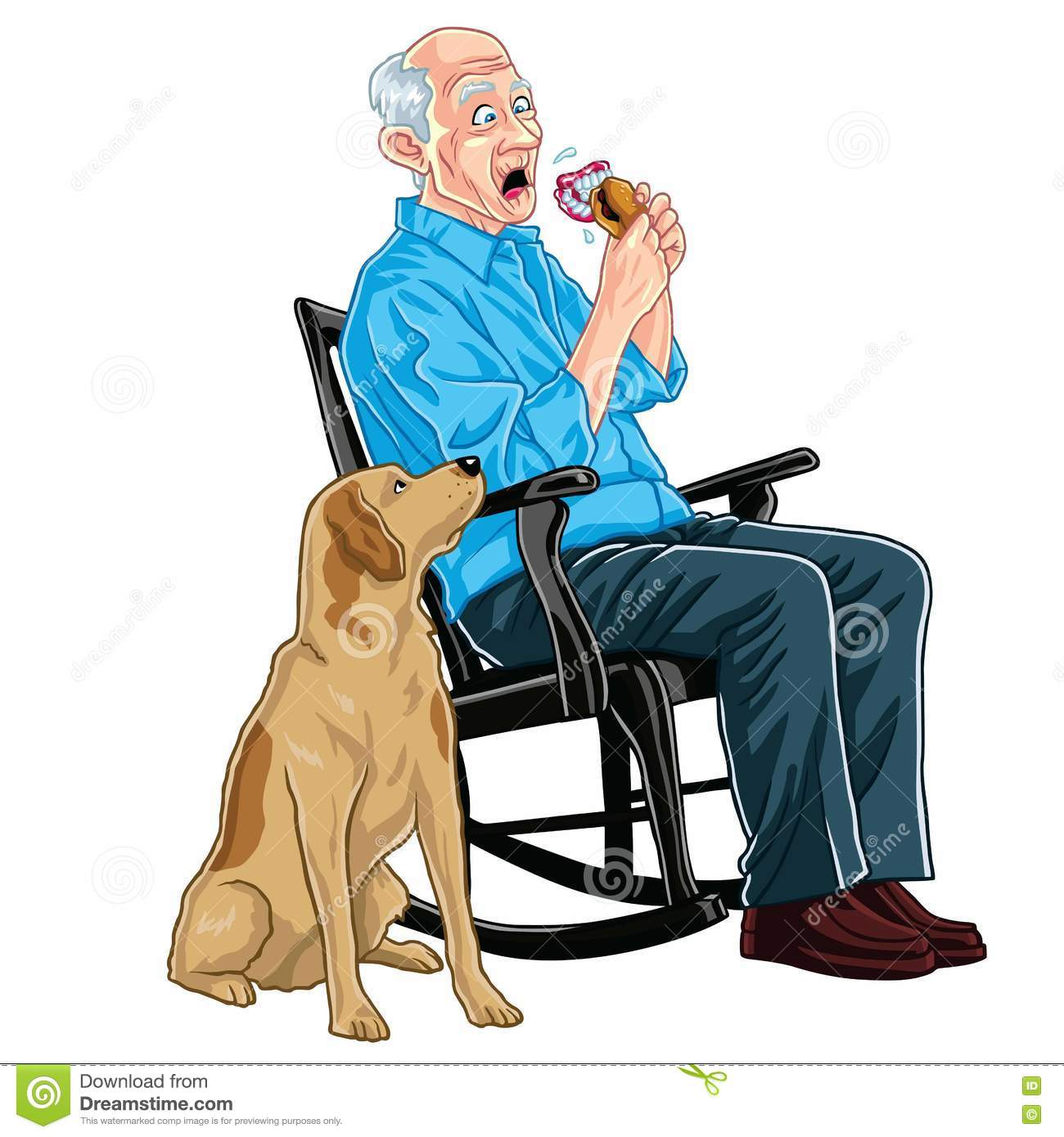 Old Man Eating Burger Stock Vector Illustration Of Humour 74443592