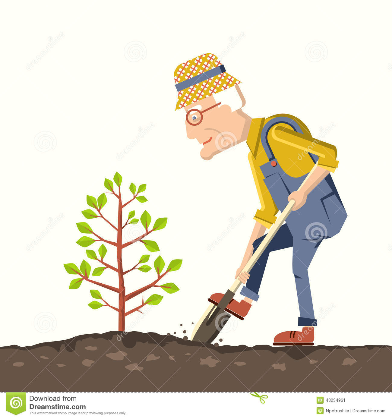 ... plant a tree in a garden.Vector illustration of gardener with shovel