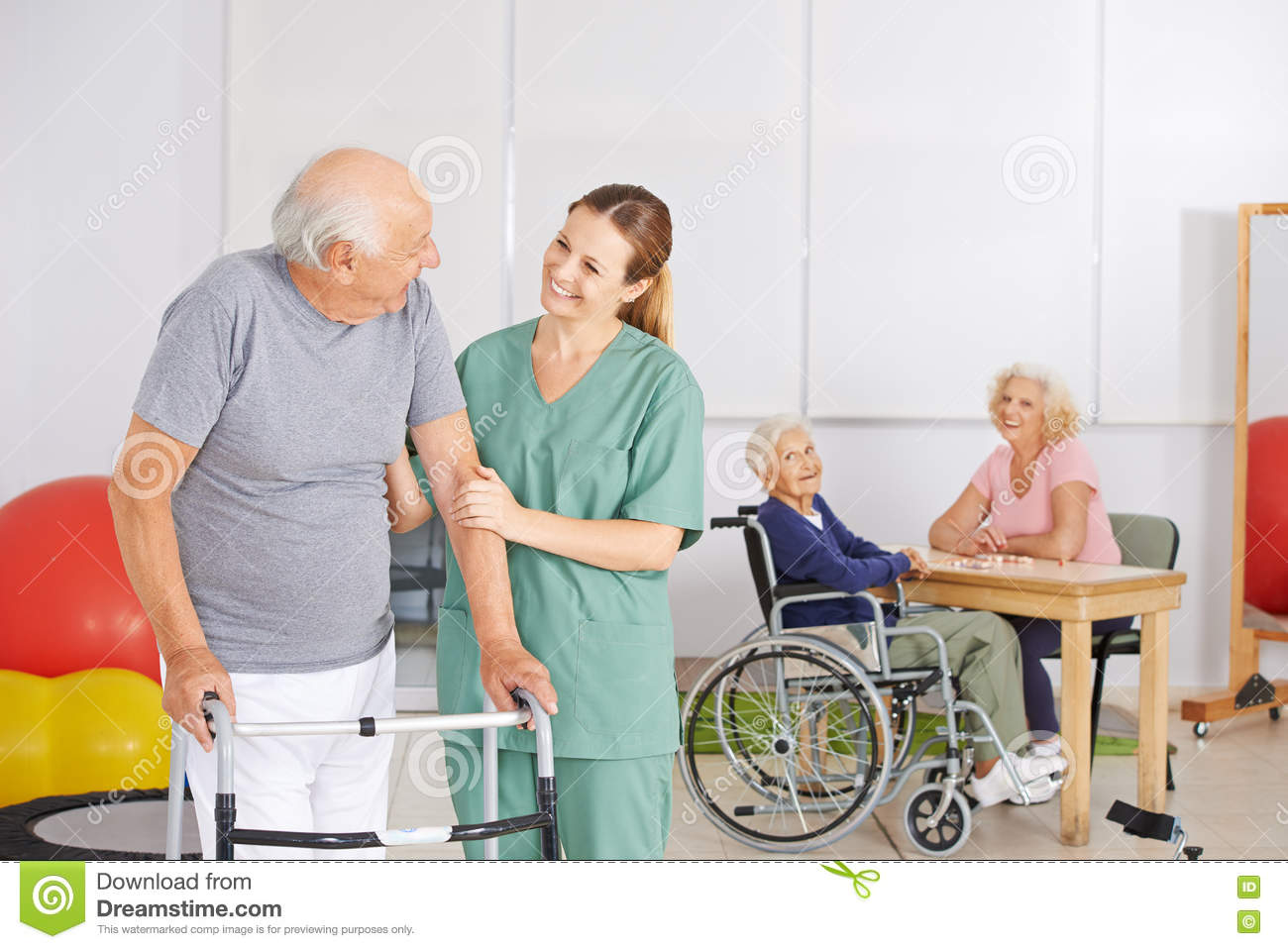 Old Man With Geratric Nurse In Nursing Home Stock Photo Image Of Everyday Rehab 73308038