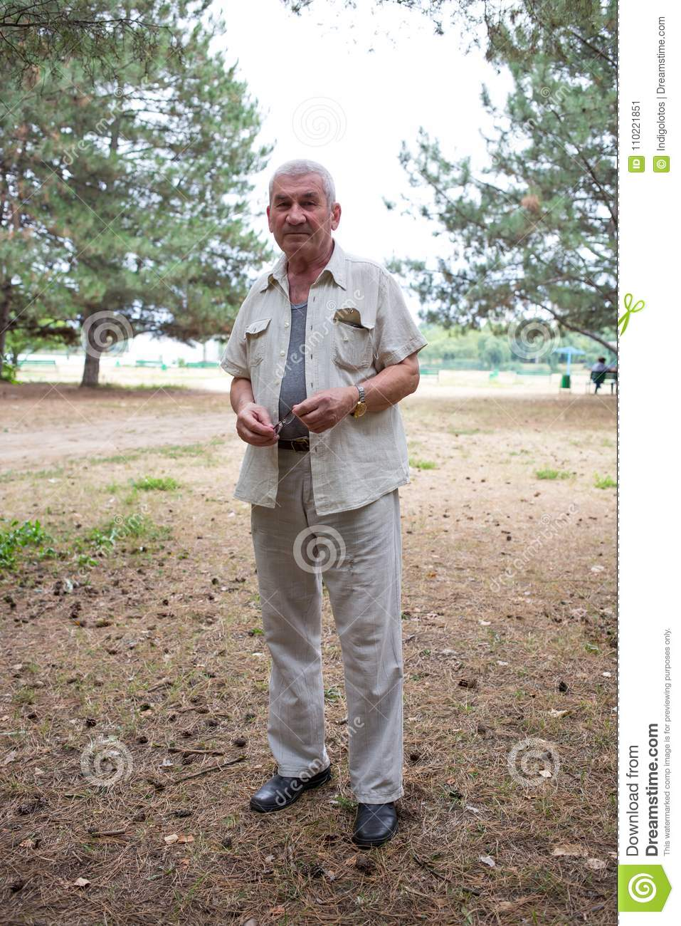 618525fbc0b5 Old Man With Glasses In Park. Stock Image - Image of adult
