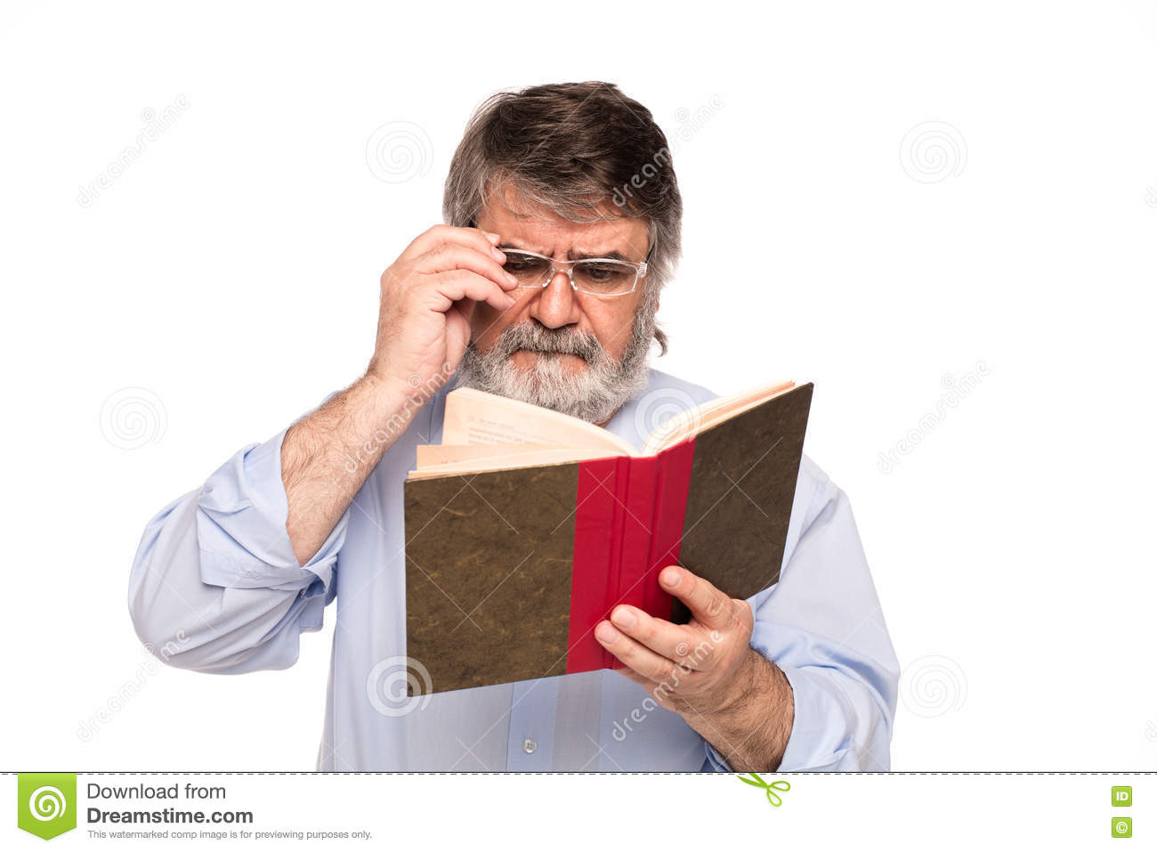 Old Man With Glasses Reading A Book Stock Image - Image of information,  gray: 71442157