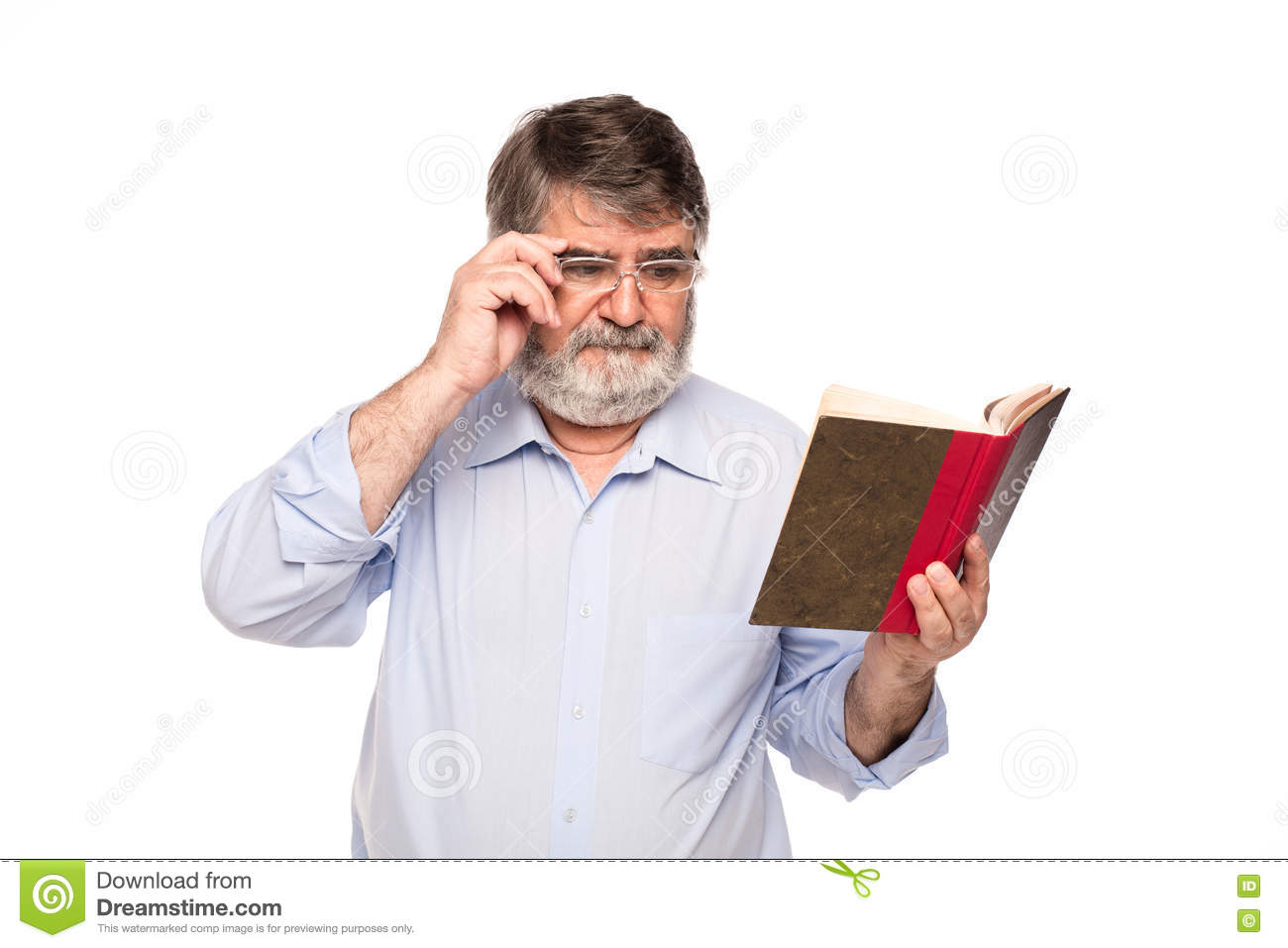 Old Man With Glasses Reading A Book Stock Image - Image of looking, elderly:  71442223