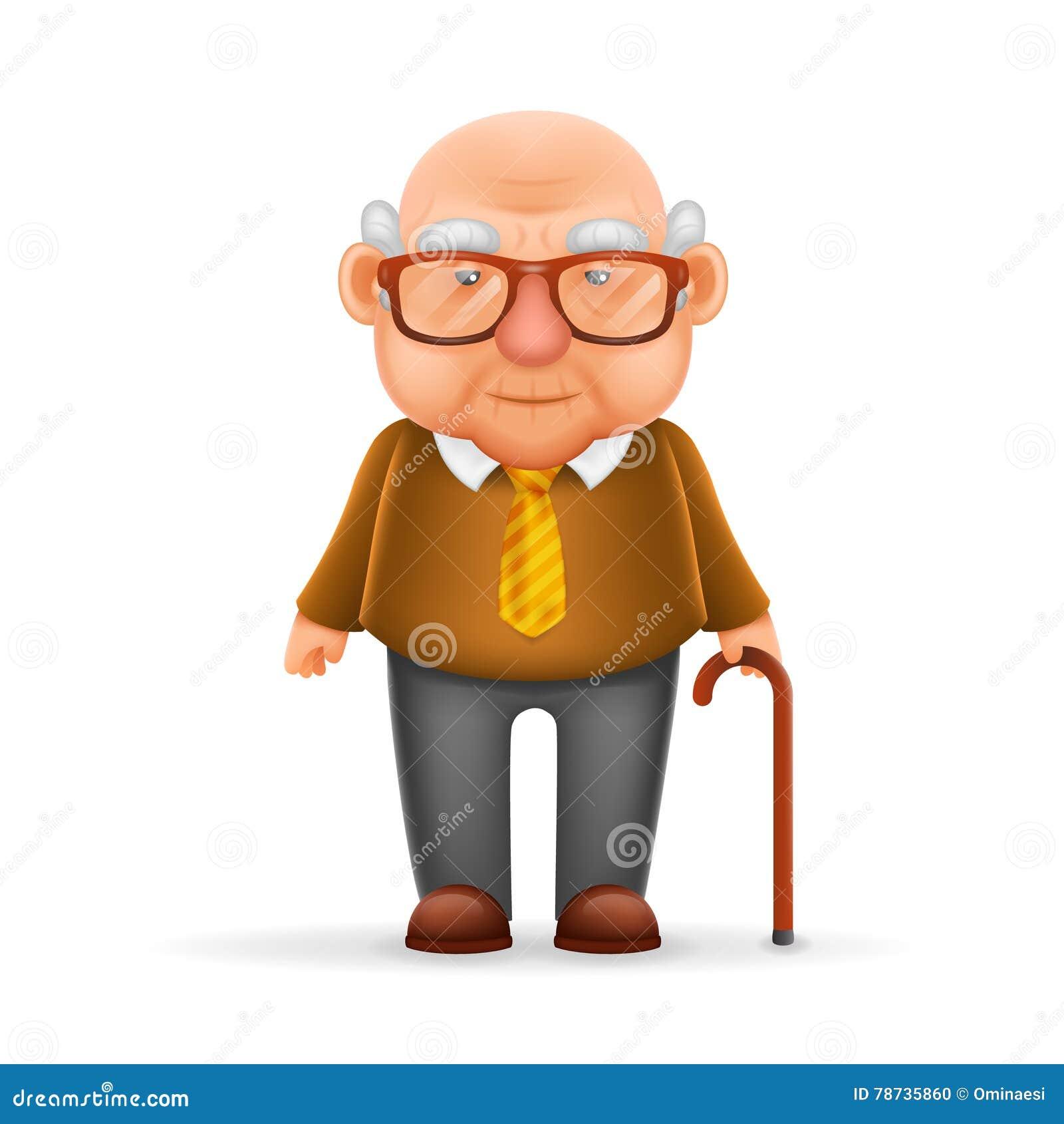 Cartoon Character Design In Illustrator : Old man grandfather d realistic cartoon character design