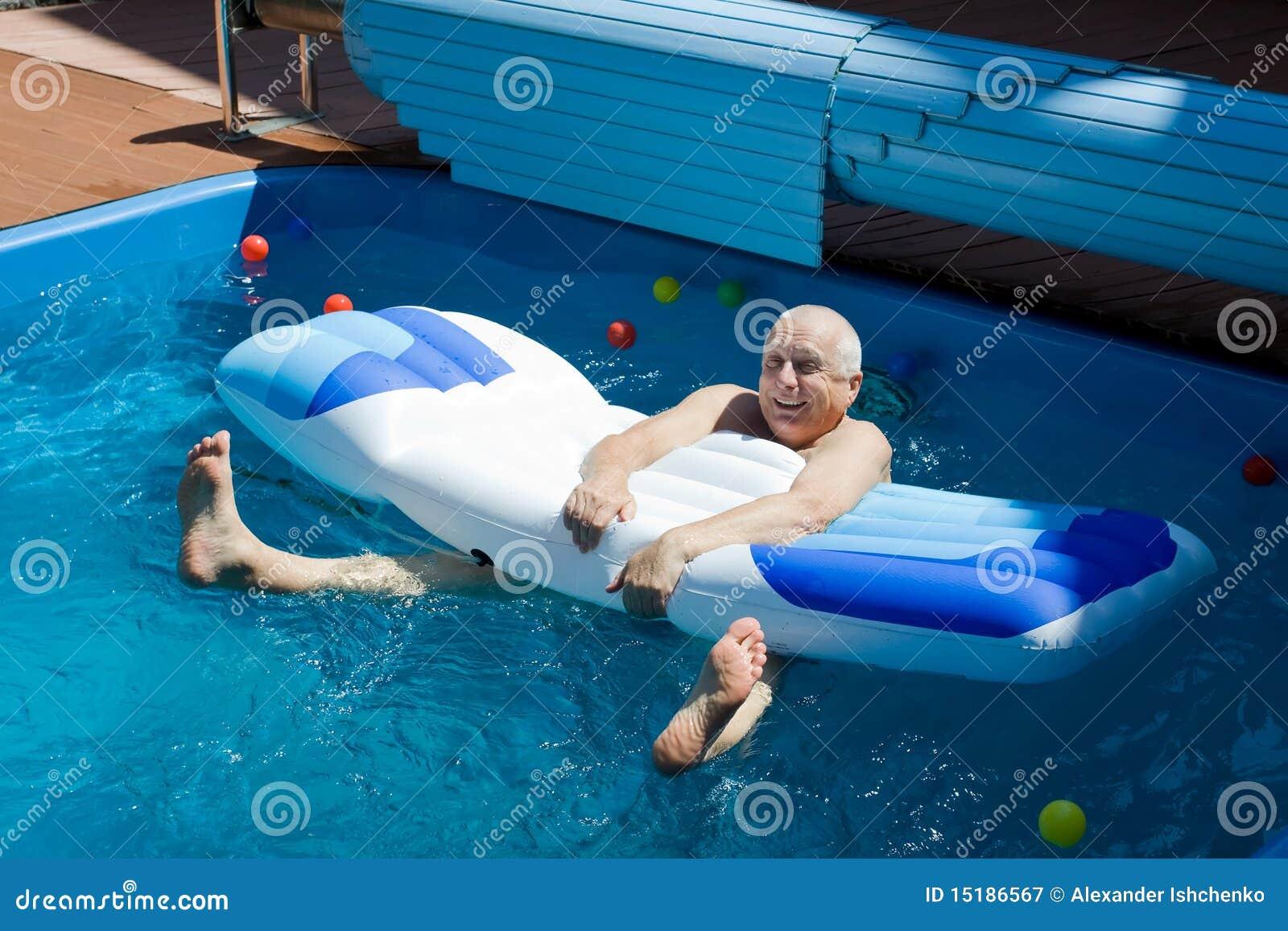 Dudes having fun on pool
