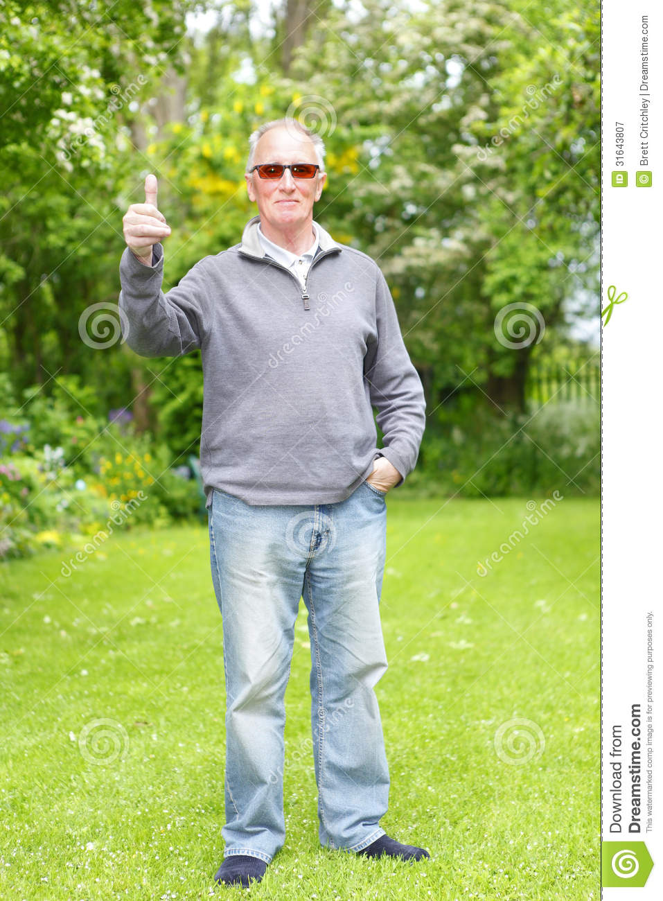 Old Man On His Grass Lawn Royalty Free Stock Photography