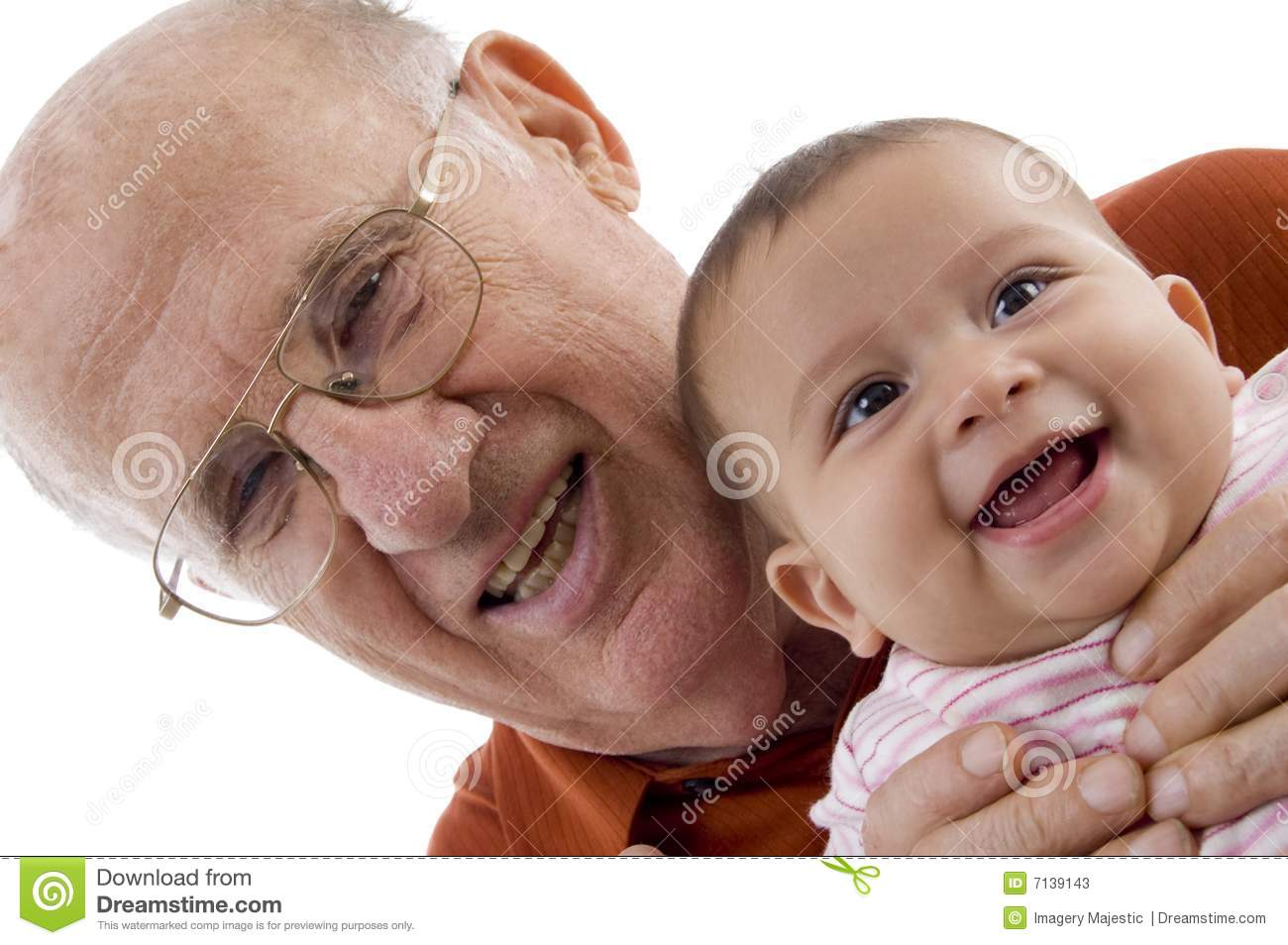 Old man holding the cute baby