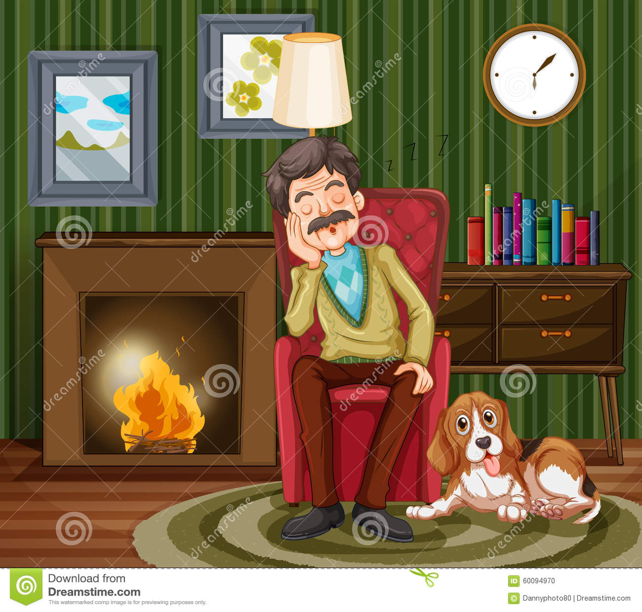 Old Man Napping On Armchair Stock Vector Image 60094970