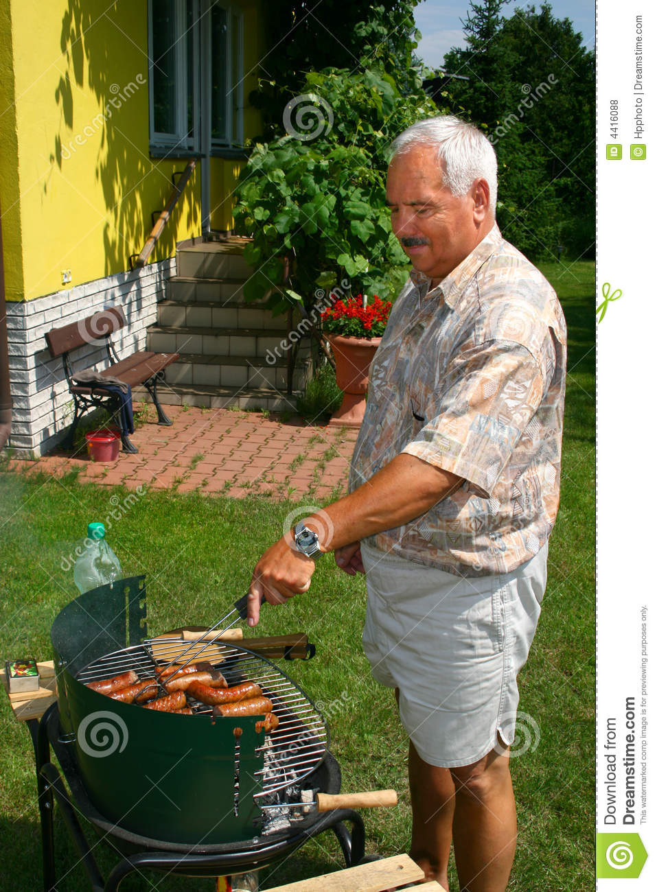 Old Man Outside Cooking Royalty Free Stock Photos Image
