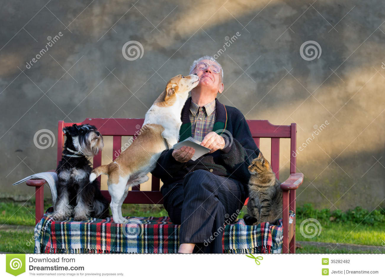 Old man with pets