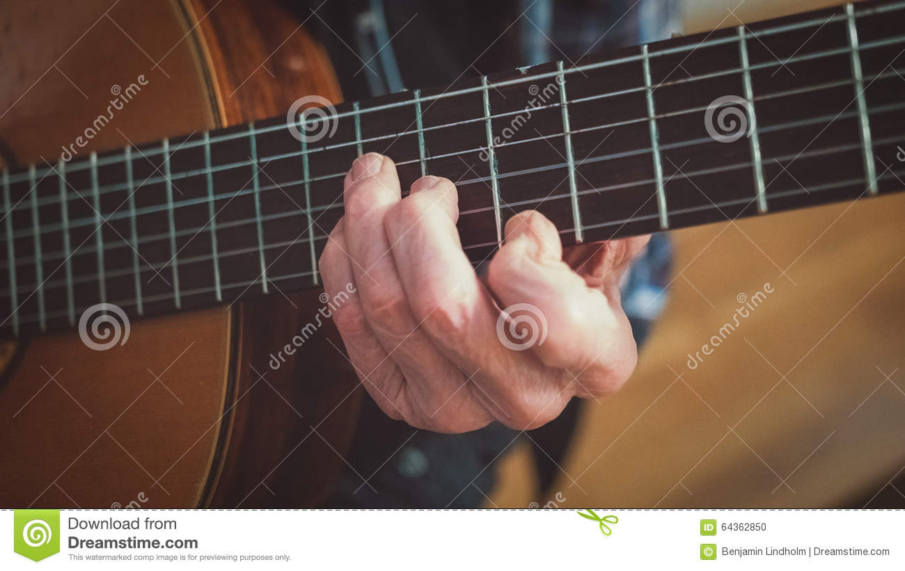 Old Man Plays Guitar Chord Stock Photo Image Of Body 64362850