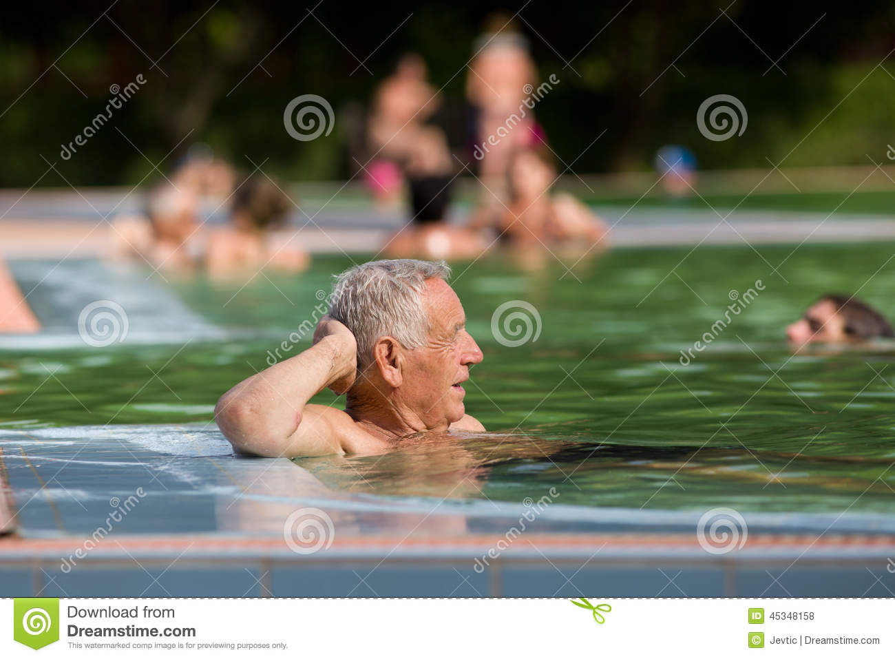 Old Man In The Pool Stock Photo Image Of Rest Relax