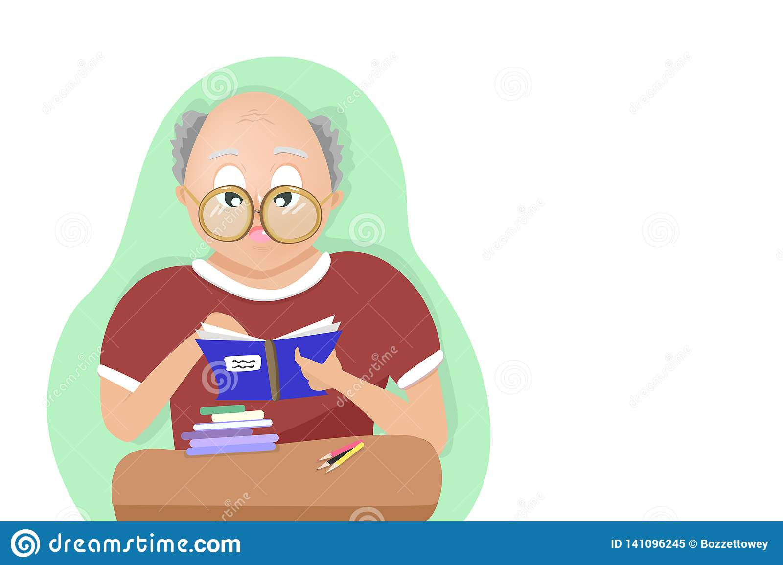 Old man reading a book, studying and learning concept, people cartoon character vector illustration