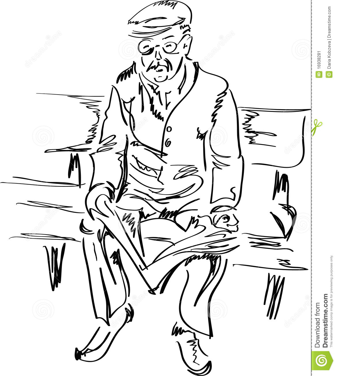 old man reading a newspaper stock vector - illustration of outdoors