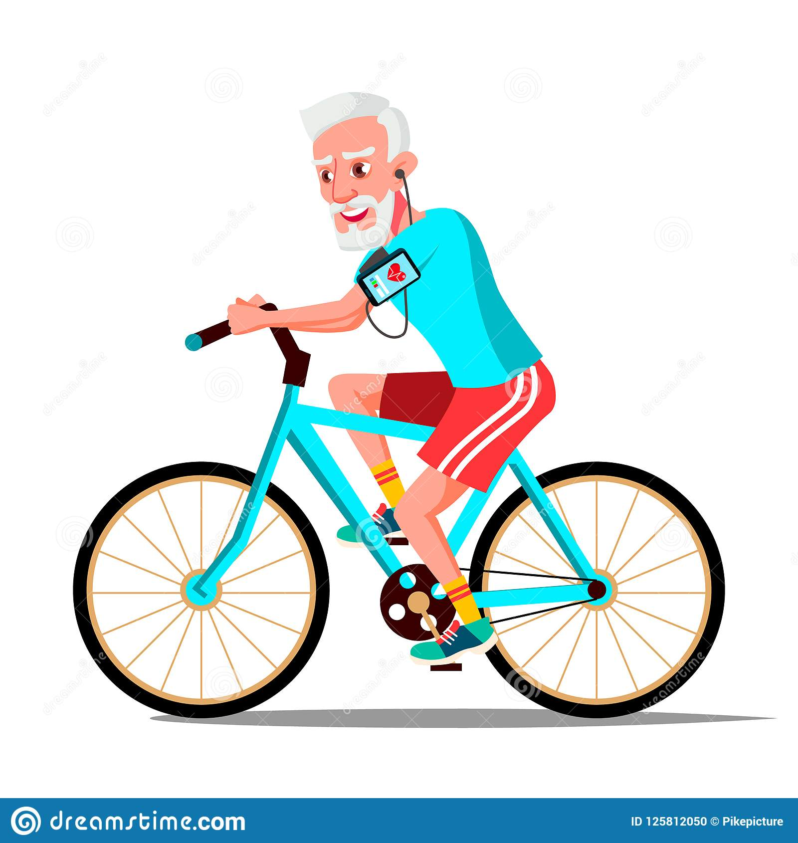 Old Man Riding On Bicycle Vector. Healthy Lifestyle. Bikes ...