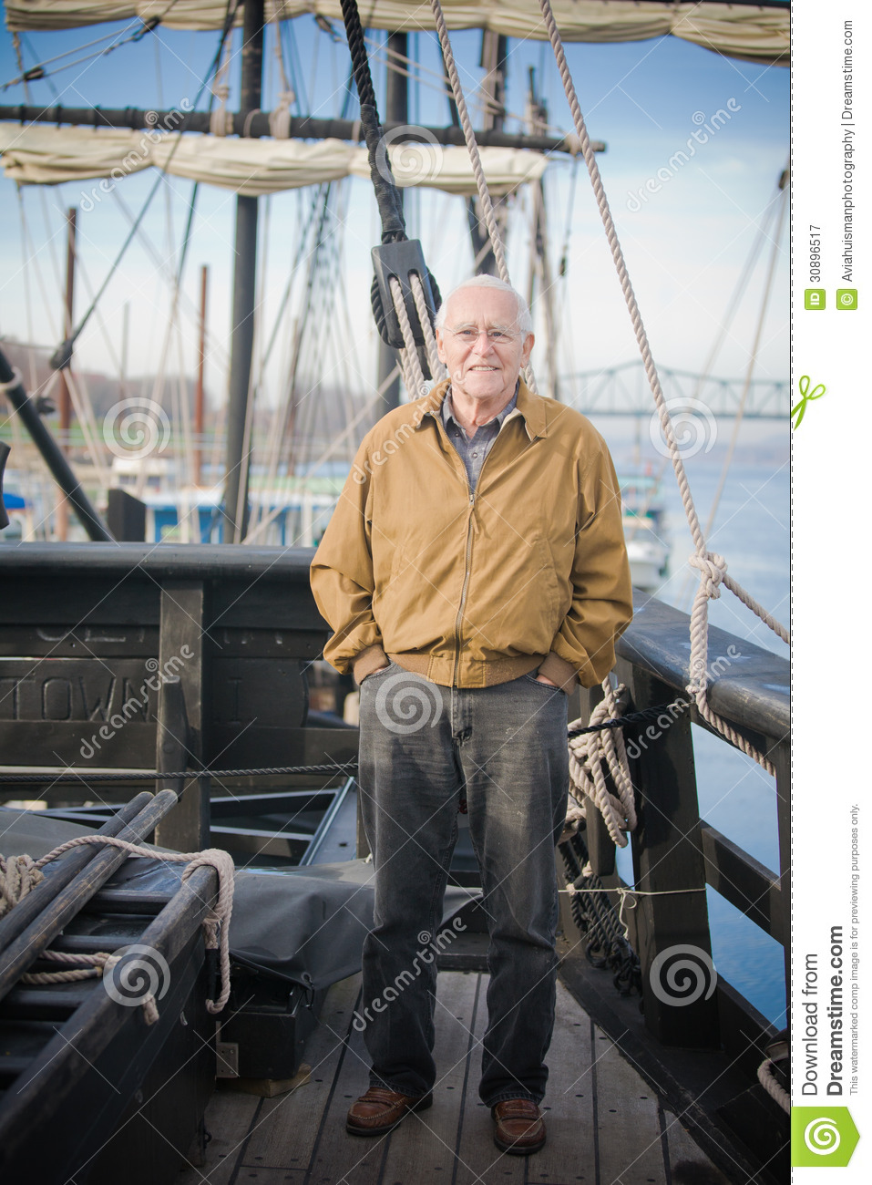 Old Man on a Ship stock image. Image of ropes, sailor ...