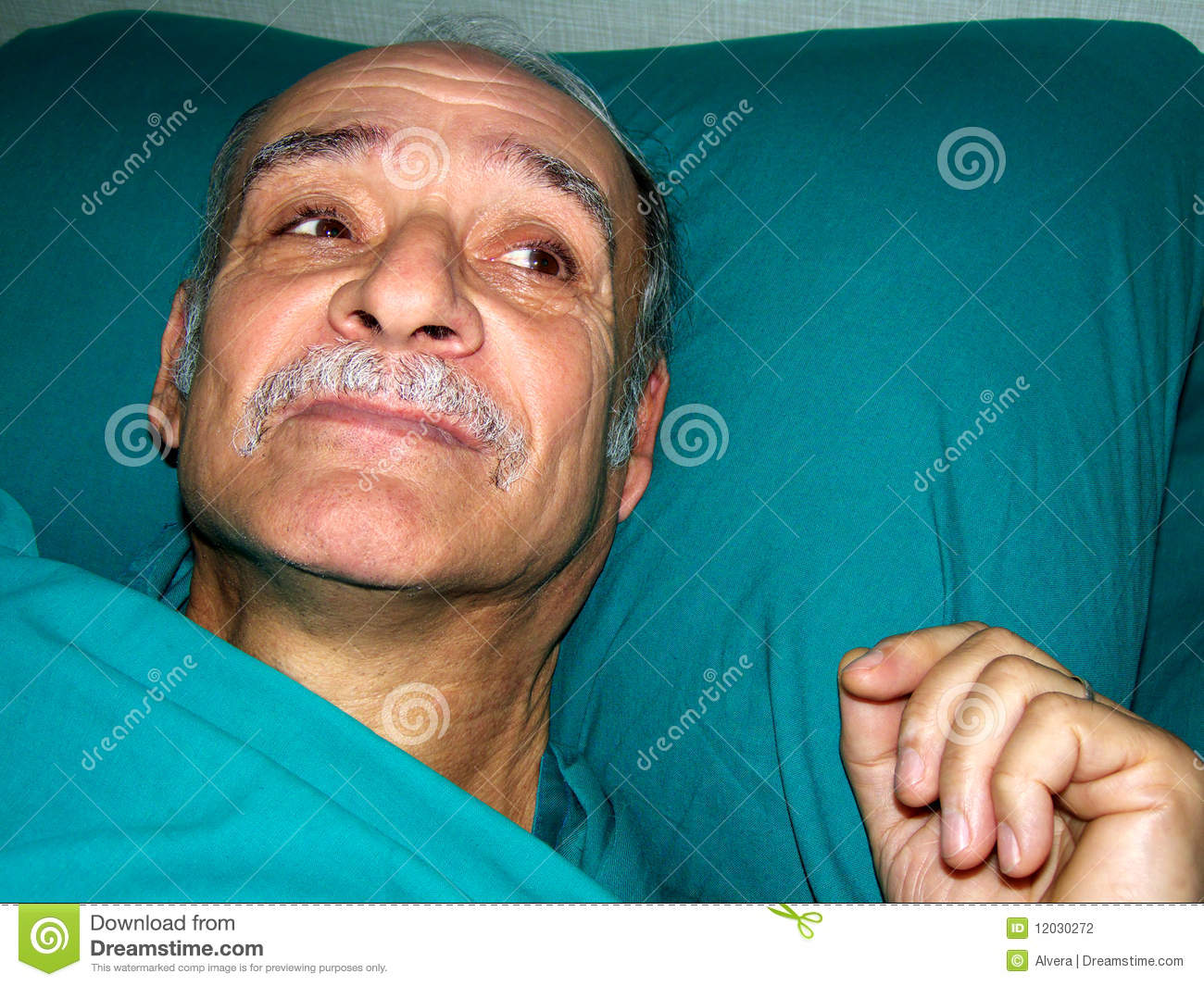 Images Of Sick Old Me In Hospital Bed : Sick old man in hospital bed. Close-up.