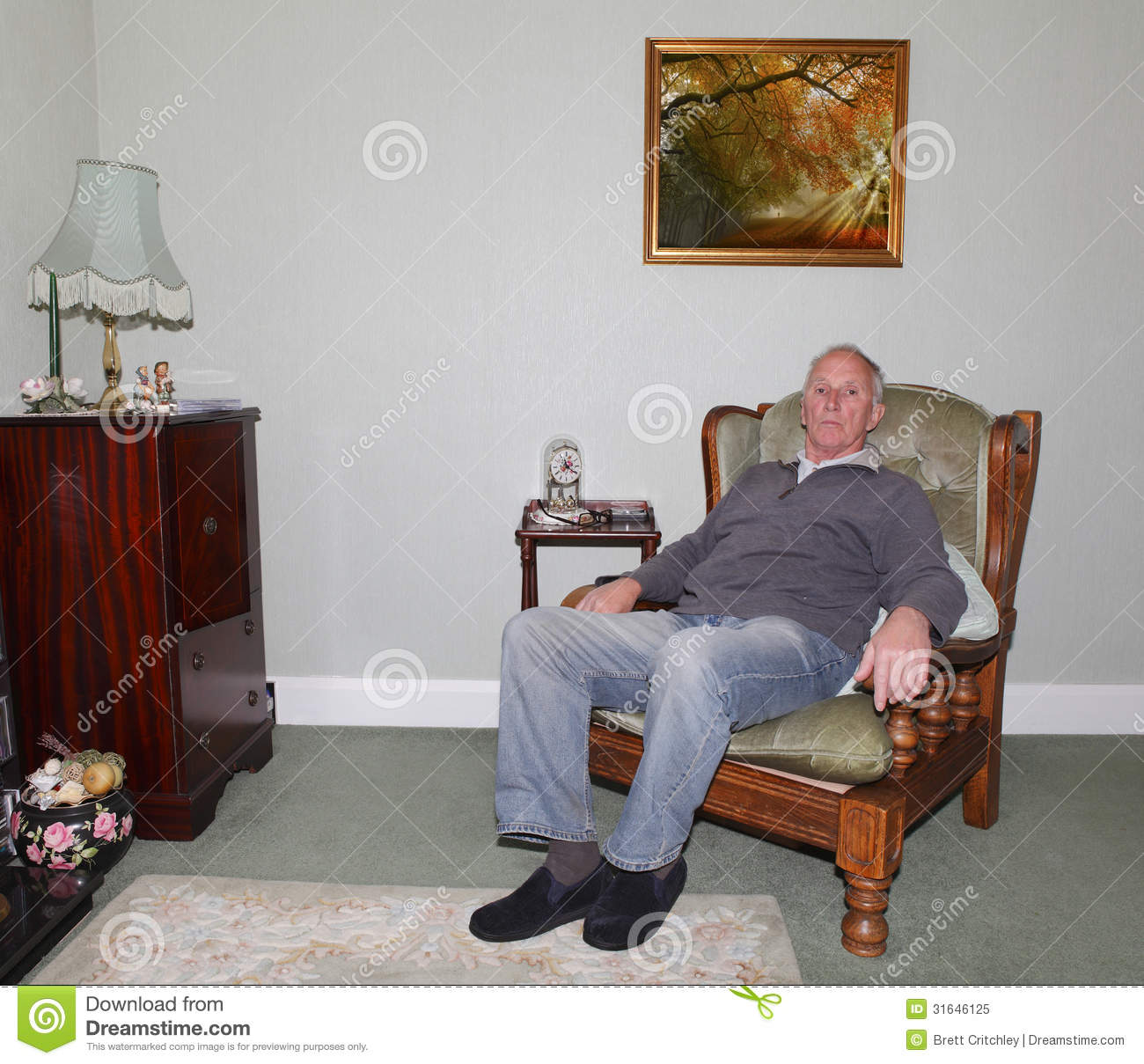 Old Man Sitting In His Armchair Stock Image - Image of sits, good ...