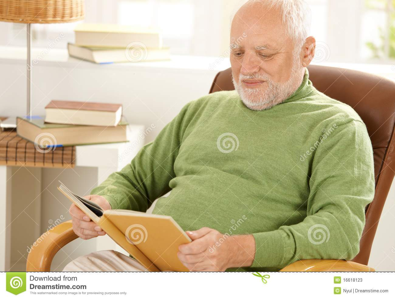 Old Man Sitting At Home Reading Stock Photos Image 16618123