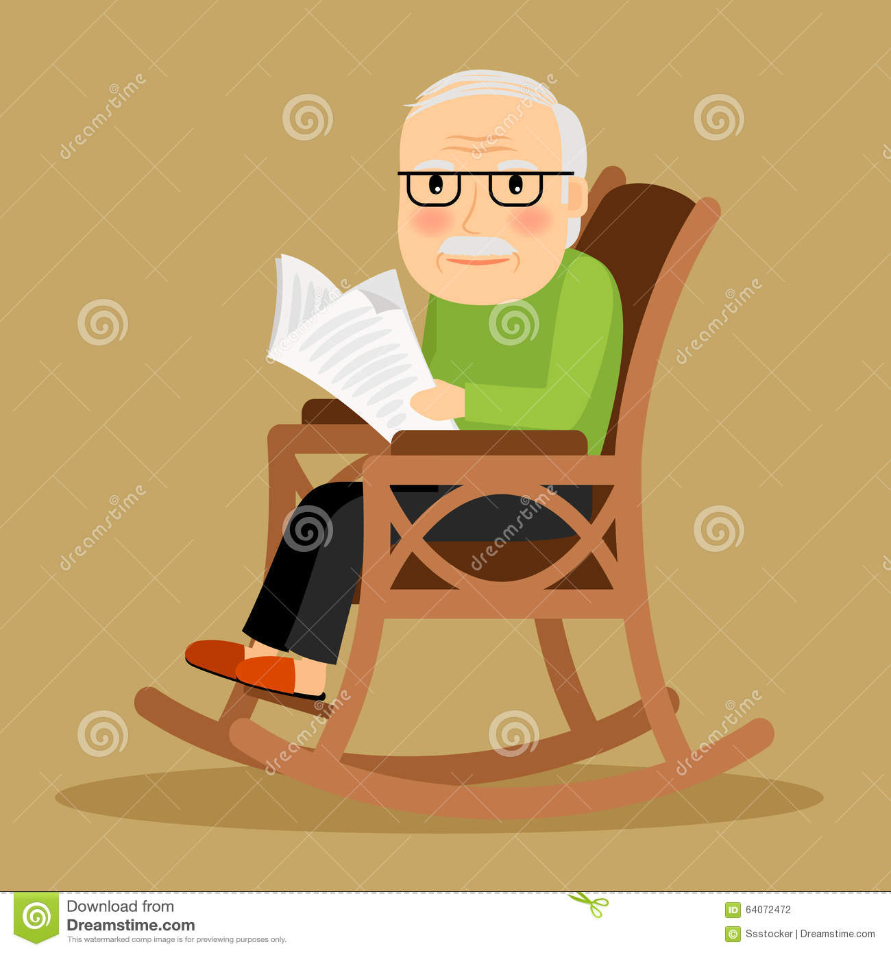 Old Man Sitting In Rocking Chair And Newspaper Stock