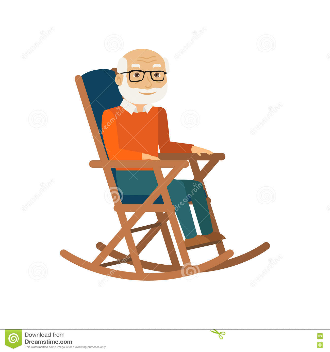 Strange Old Man Sitting In Rocking Chair Vector Stock Vector Squirreltailoven Fun Painted Chair Ideas Images Squirreltailovenorg