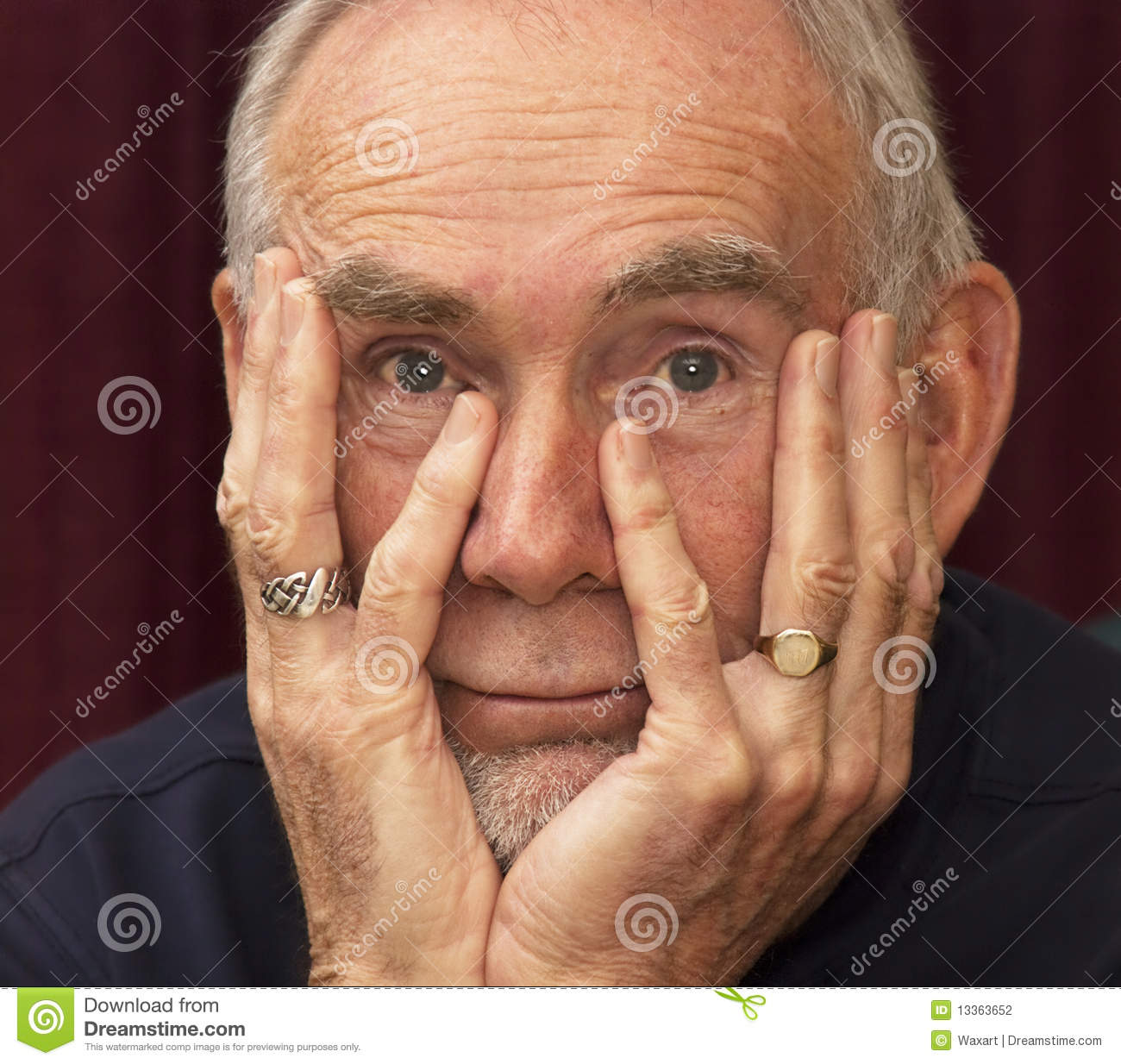 Old Man Staring Into Space With Chin In Hands Stock Photography Image 13363652