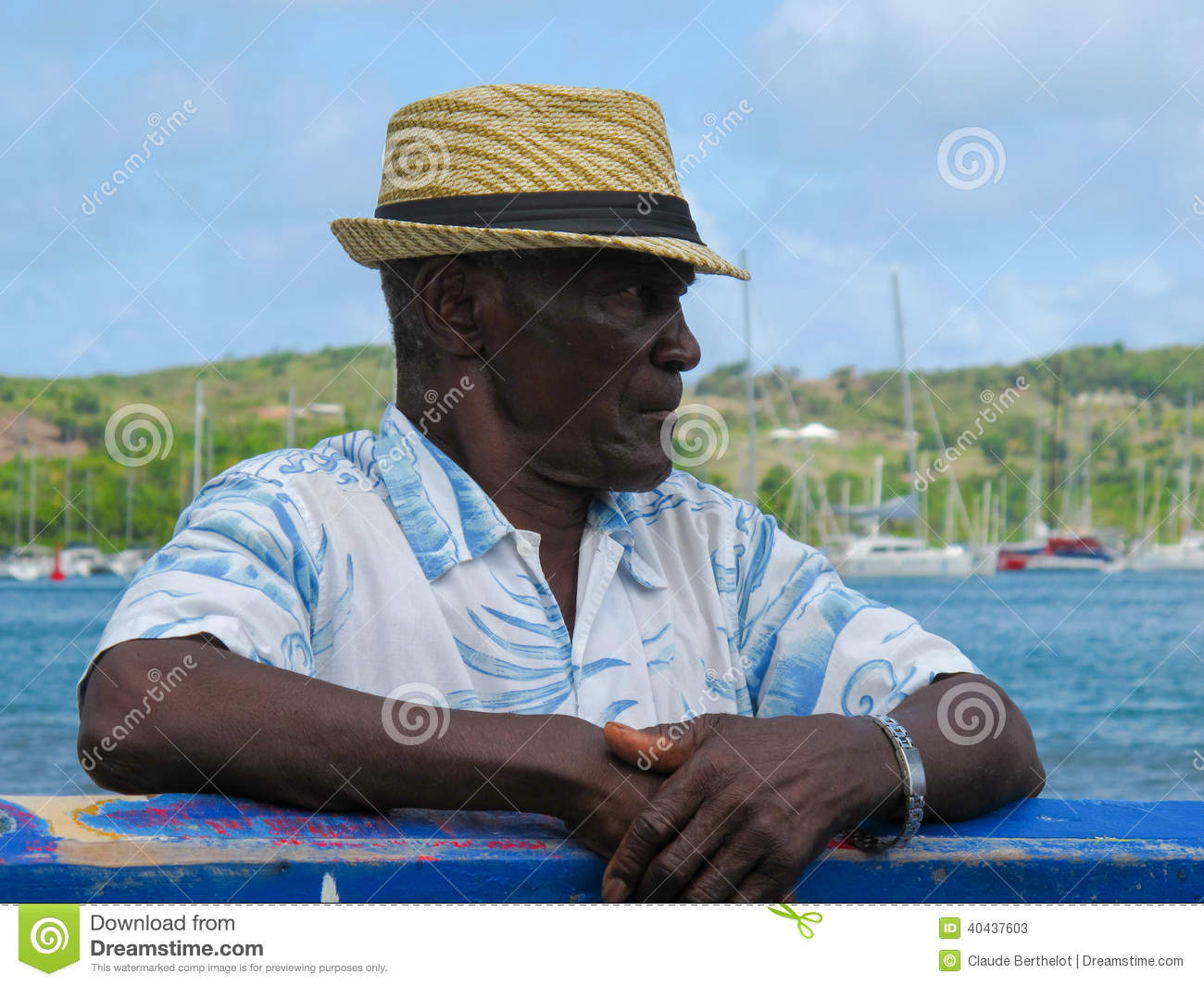 old man with a straw hat editorial stock photo image 40437603. Black Bedroom Furniture Sets. Home Design Ideas