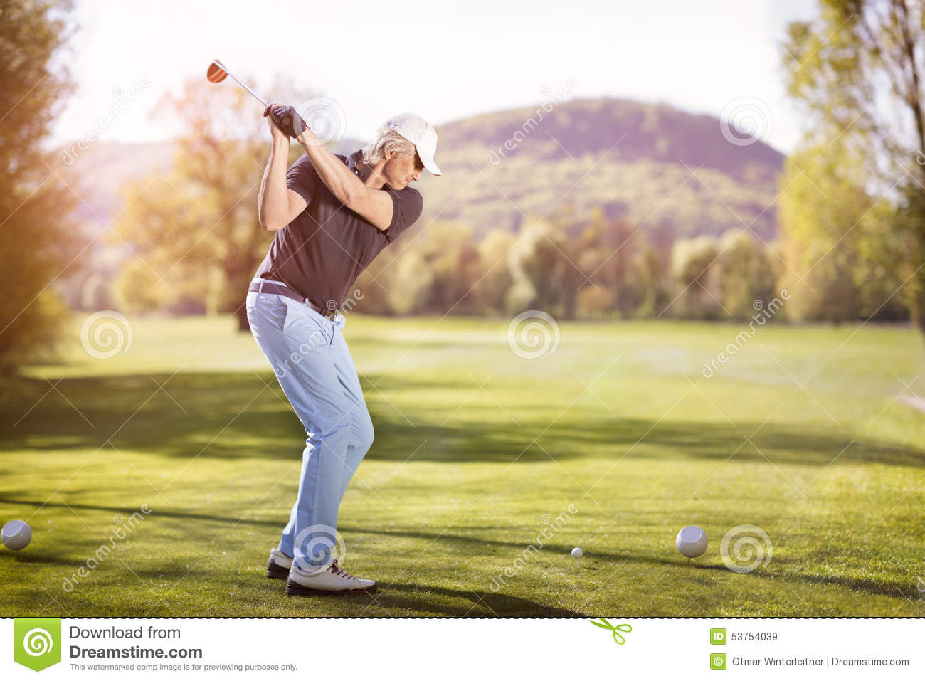 Old Man Swinging Golf Club Stock Photo Image 53754039