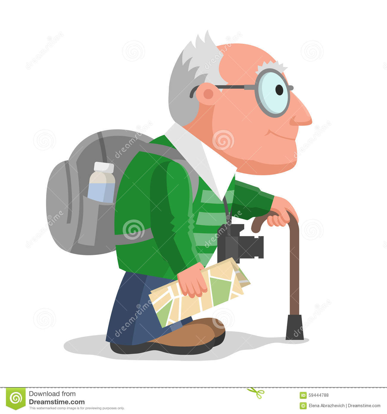 Old Man Is Travelling Stock Vector - Image: 59444788