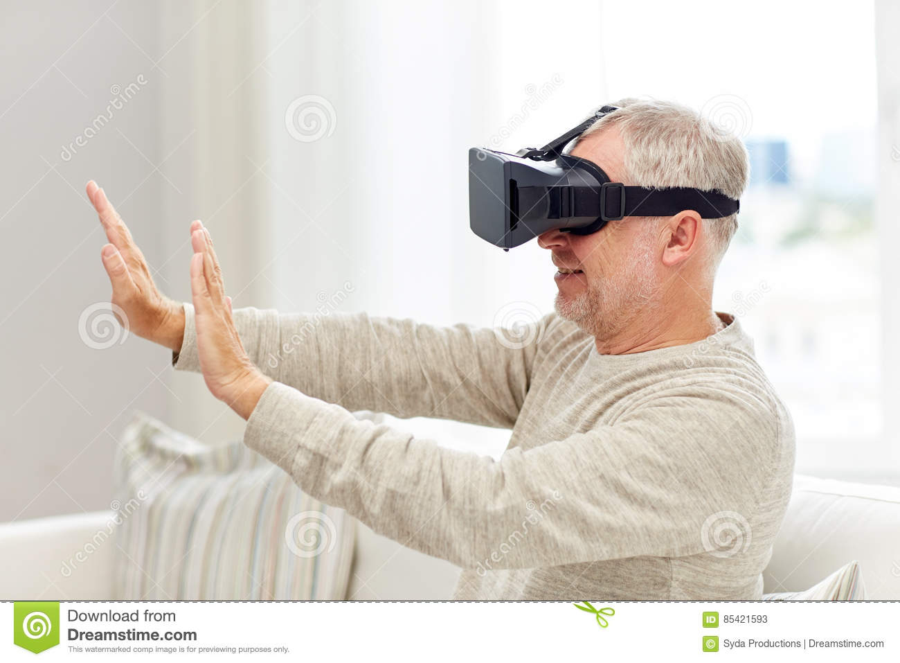 7b9fae111ba Old Man In Virtual Reality Headset Or 3d Glasses Stock Image - Image ...