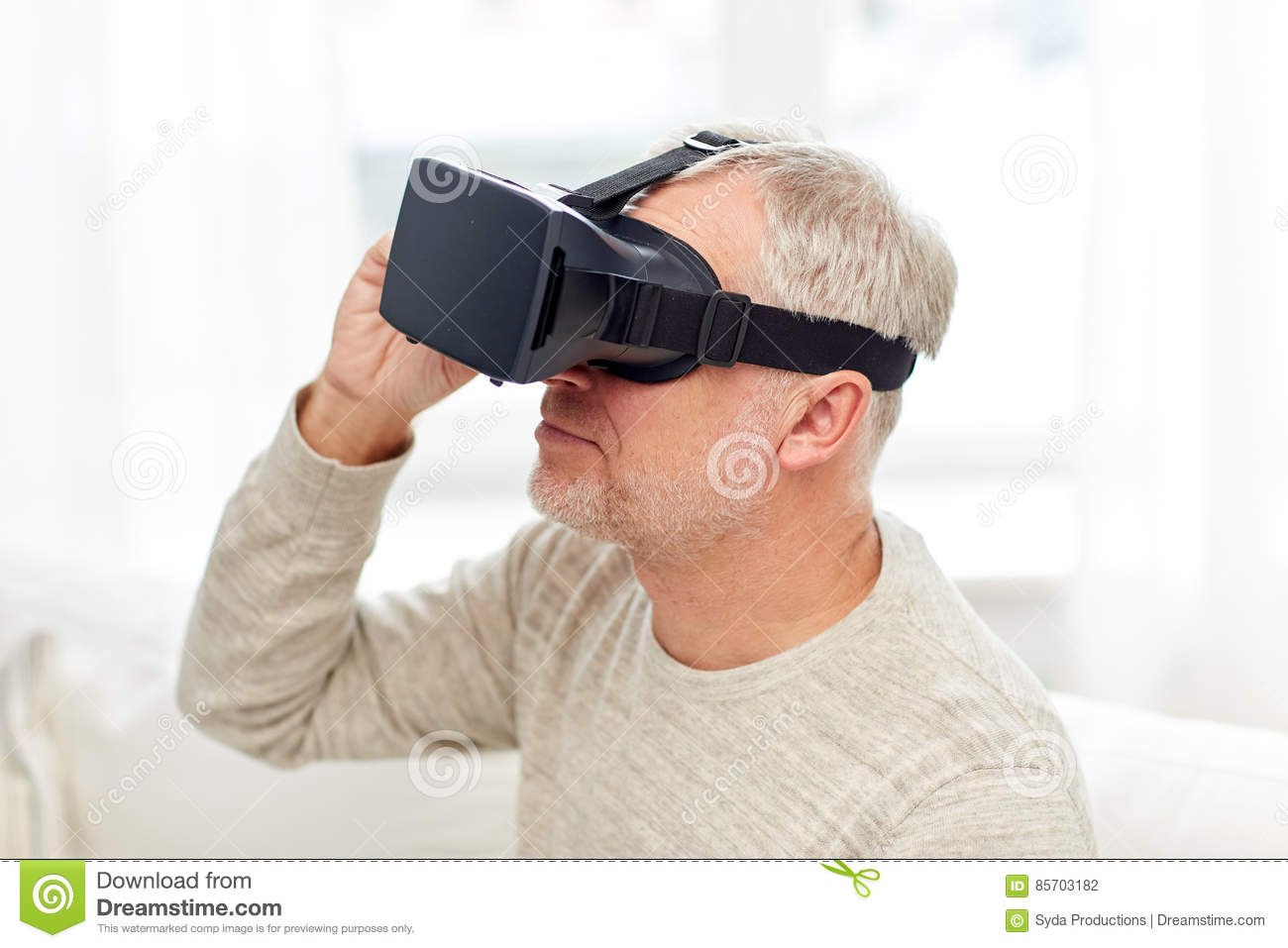 0f3e2bd6336 Old Man In Virtual Reality Headset Or 3d Glasses Stock Photo - Image ...