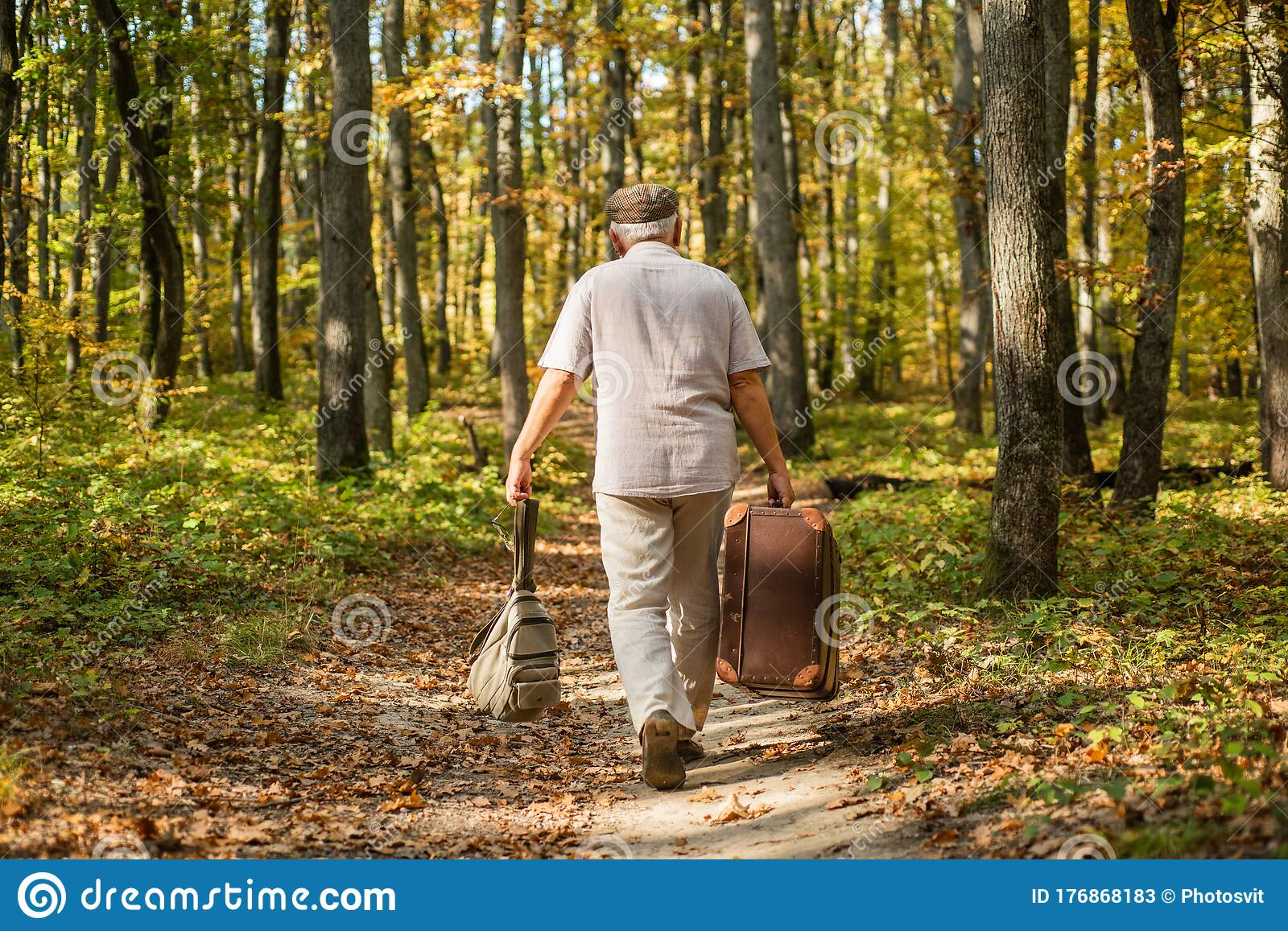 Old Man Walk With Suitcase Retirement Concept Old Man Carry Travel Bag In Woodland Elderly Person Travel Through Stock Image Image Of Tour Elderly 176868183