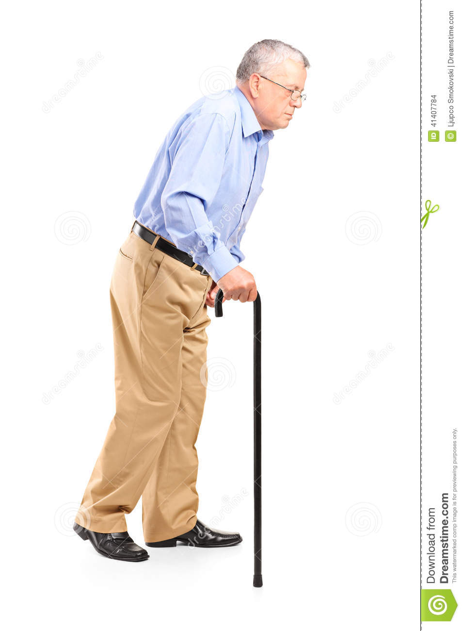 Old Man Walking With Cane Stock Photo - Image: 41407784