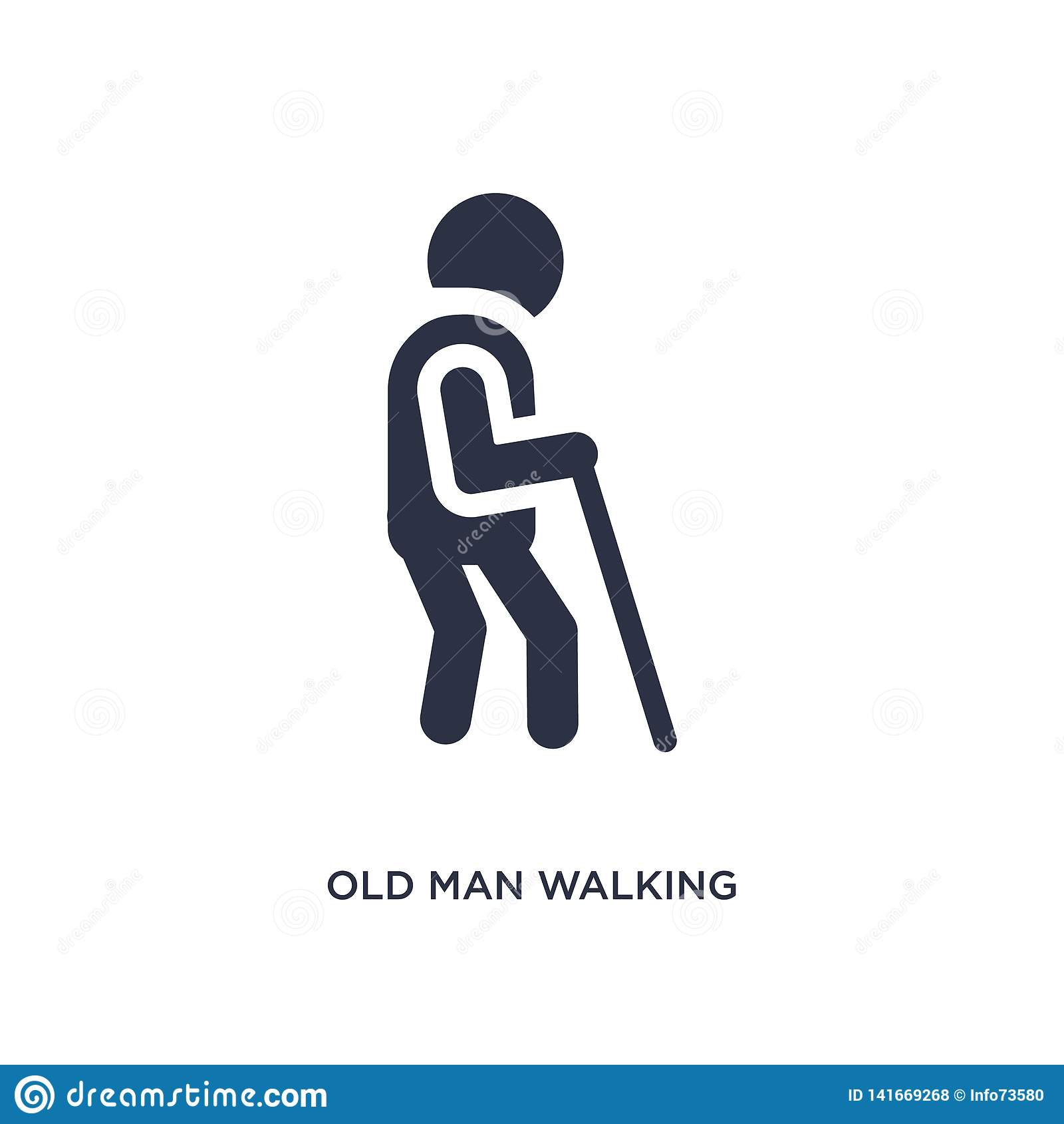old man walking icon on white background. Simple element illustration from behavior concept