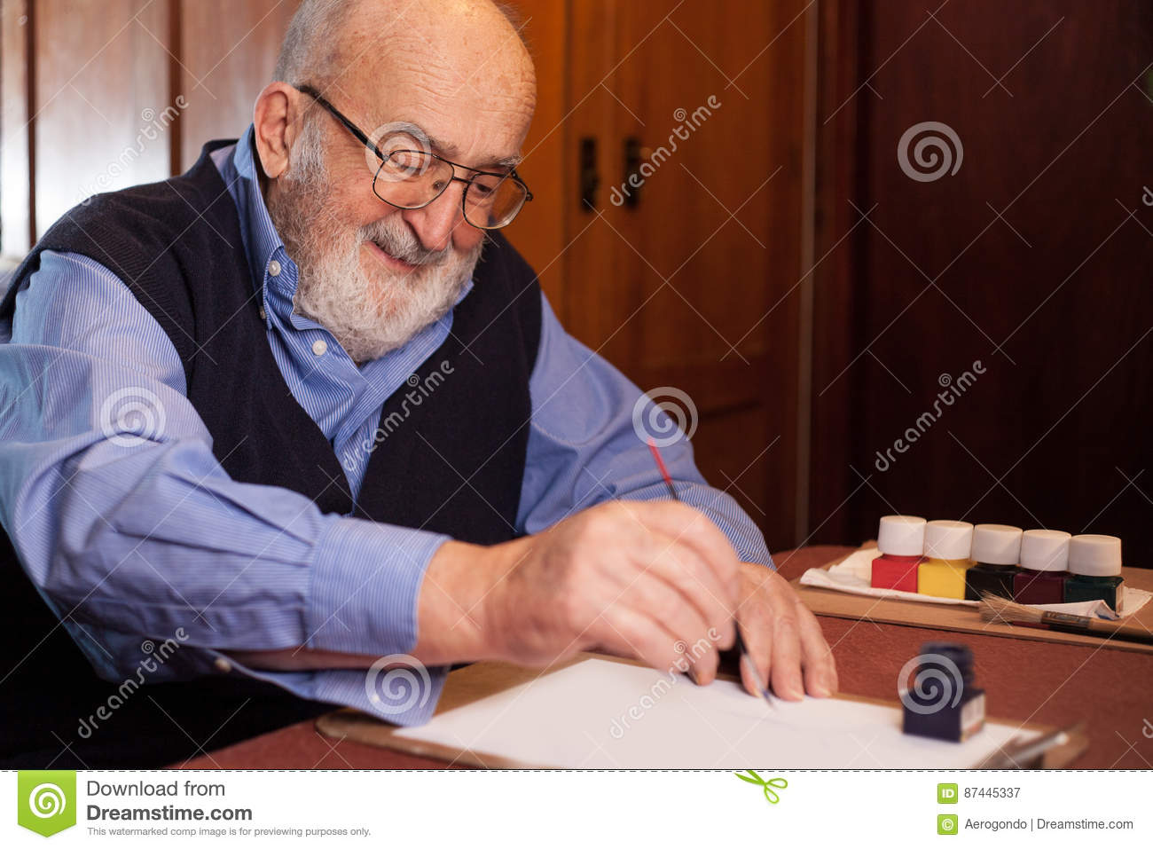 Old man writing a letter stock image. Image of blue, pensioner