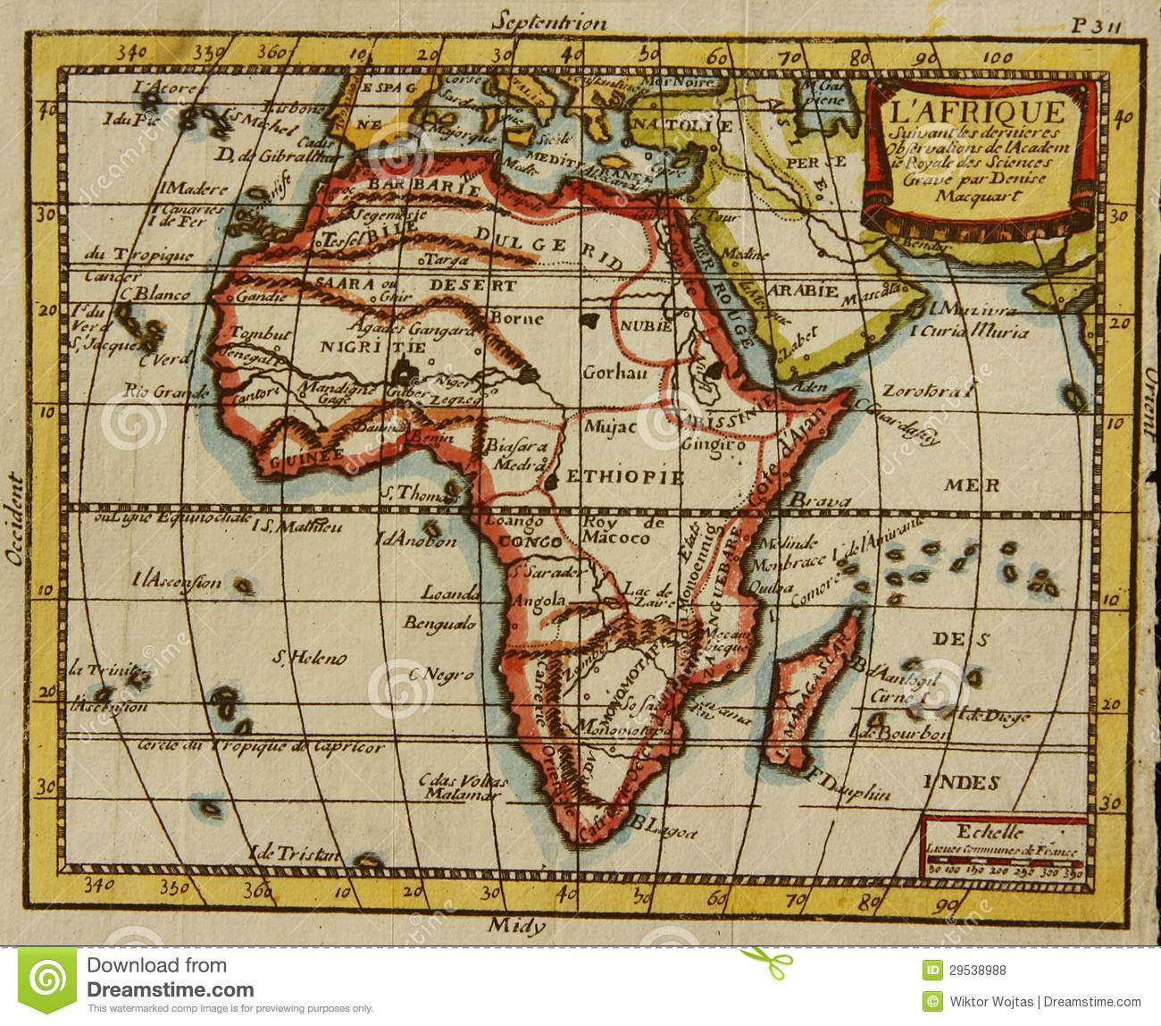 Old map of Africa stock photo. Image of history, thomas - 29538988