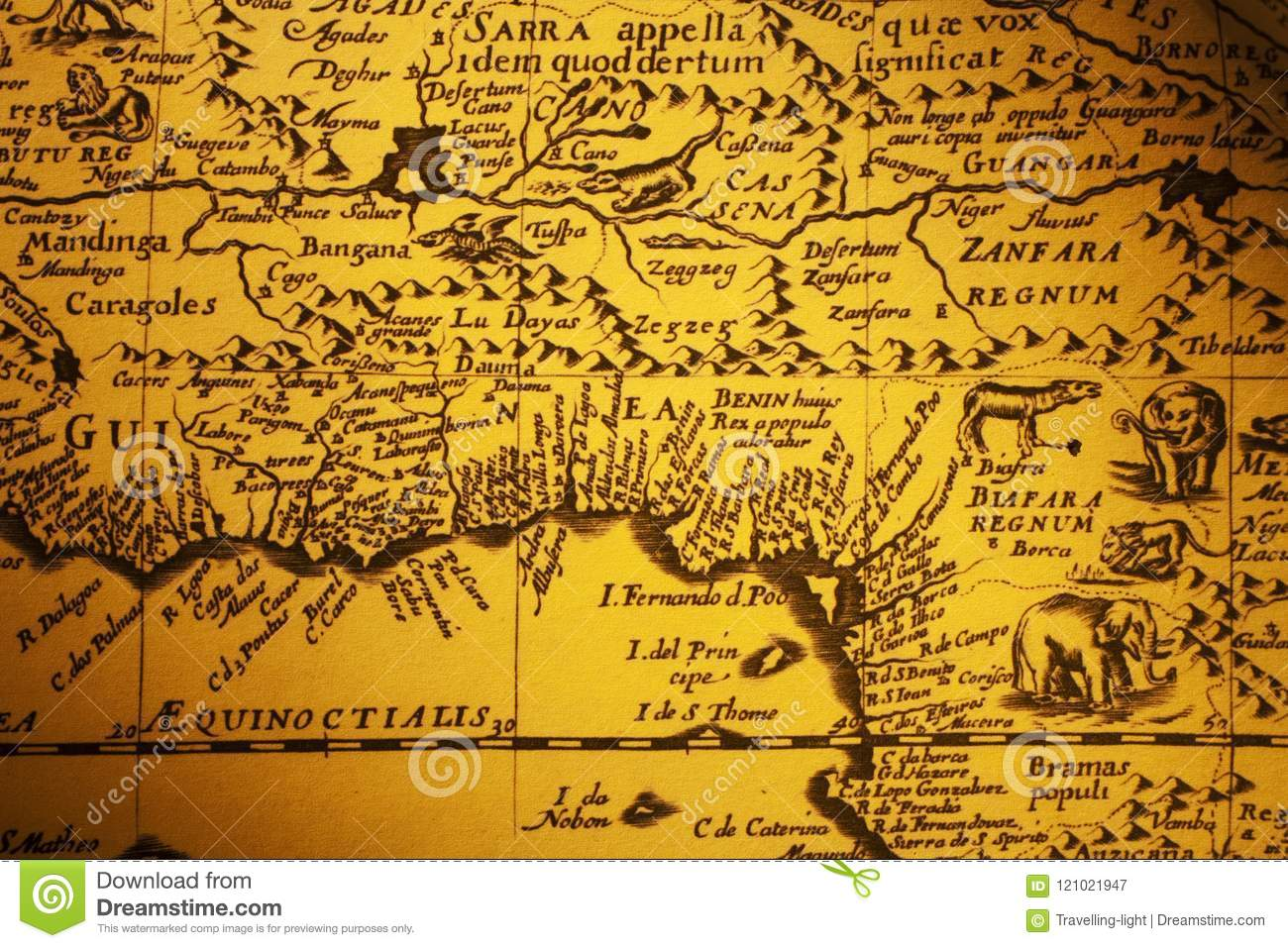 Old Map Of Africa With Pictures Of Animals Stock Image Image Of