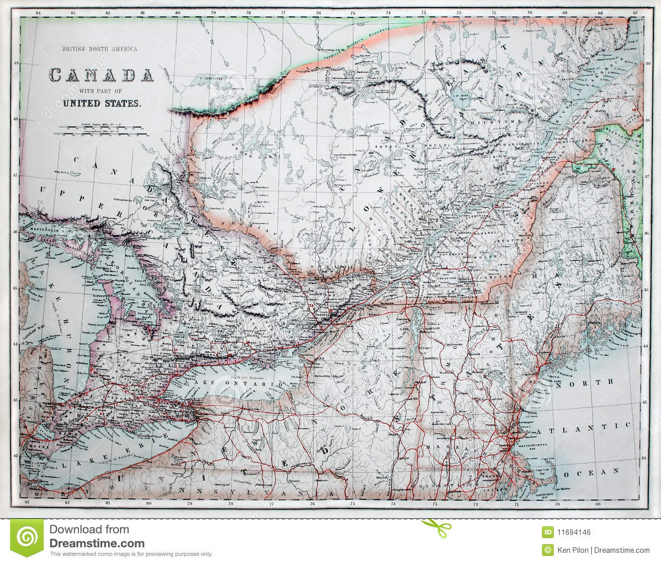 Old Map Of America & Canada. Stock Photo - Image of ...