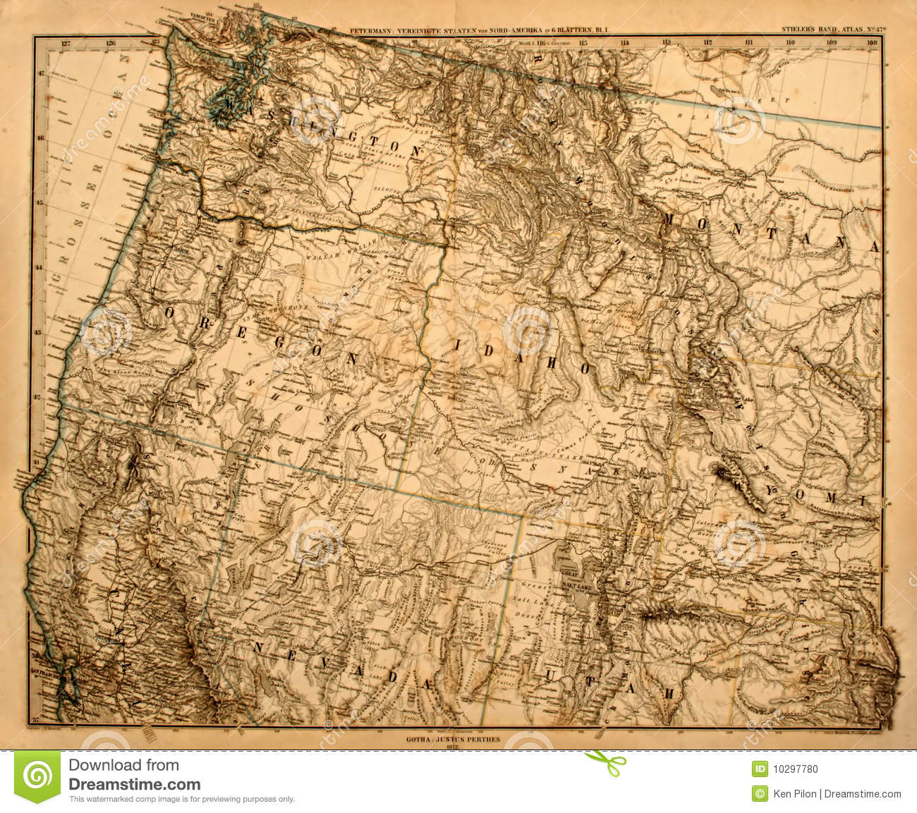Old Map Of America\'s Pacific Northwest. Stock Photo - Image ...