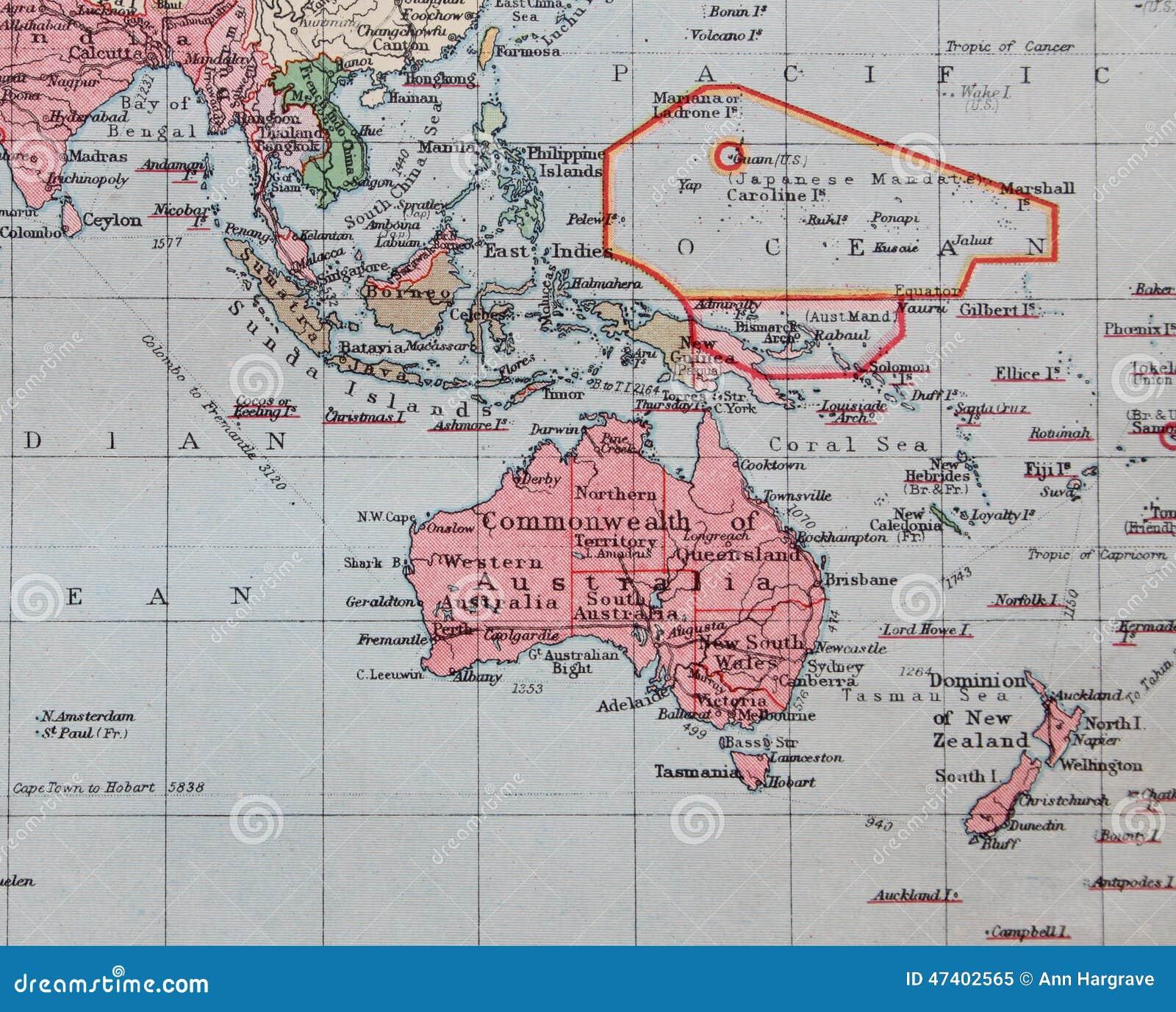 Map Australia East Coast Detailed.Old 1945 Map Of Australia Far East Stock Illustration