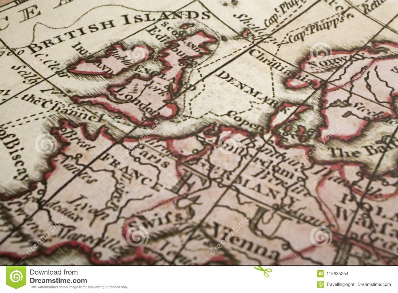 Map Of Uk In Europe.Ancient Map Of Uk And Europe Stock Photo Image Of Vintage Antique