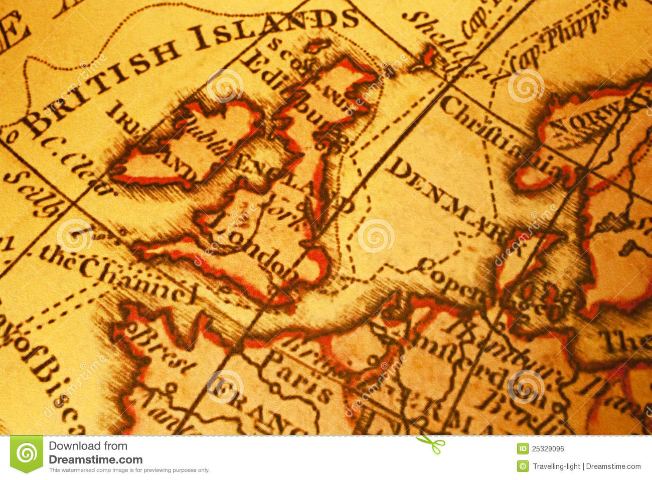 Map Of Northern Uk.Old Map Of Britain And Northern Europe Stock Photo Image Of Nobody