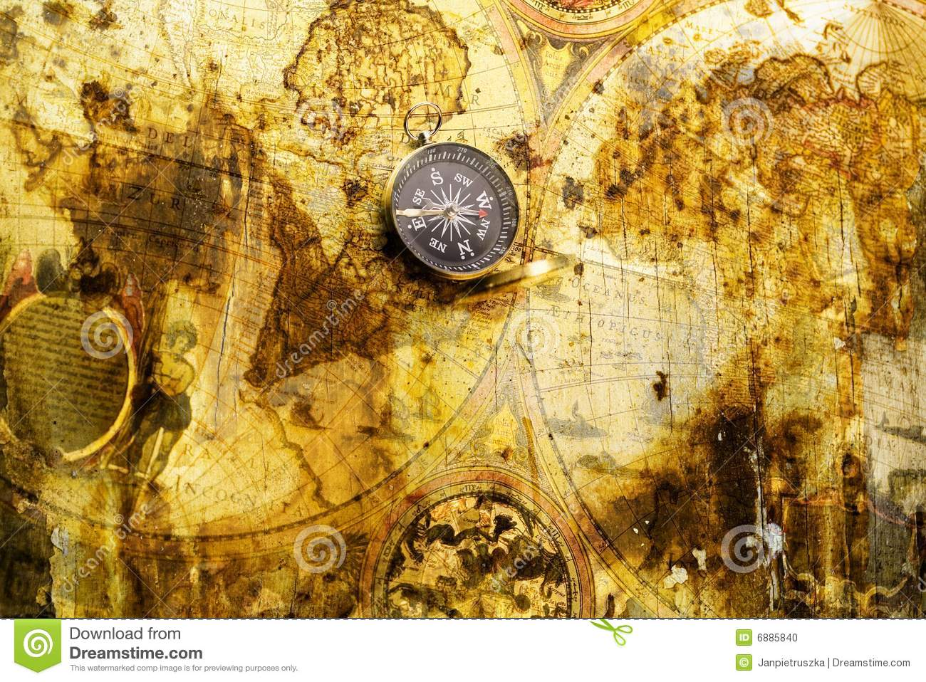Old map with compass stock photo. Image of earth, africa   6885840