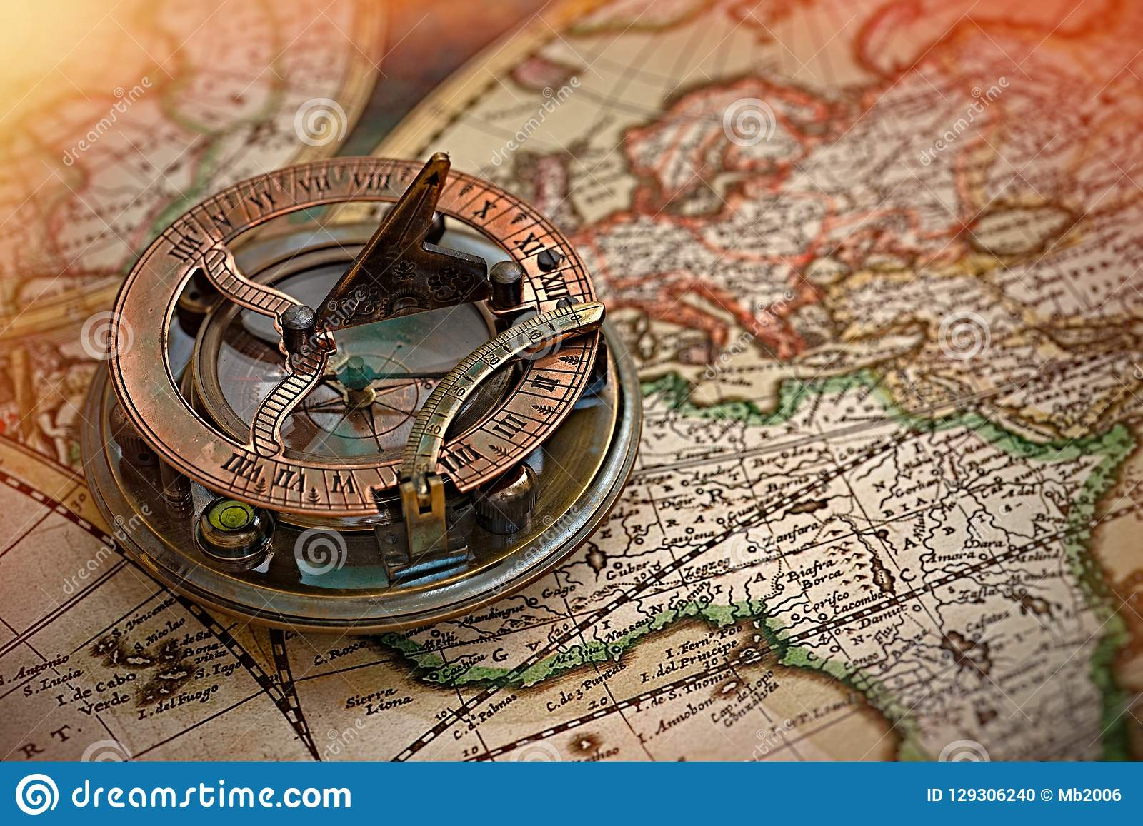 Old Map, Compass , Navigation And Geography   Stock Photo