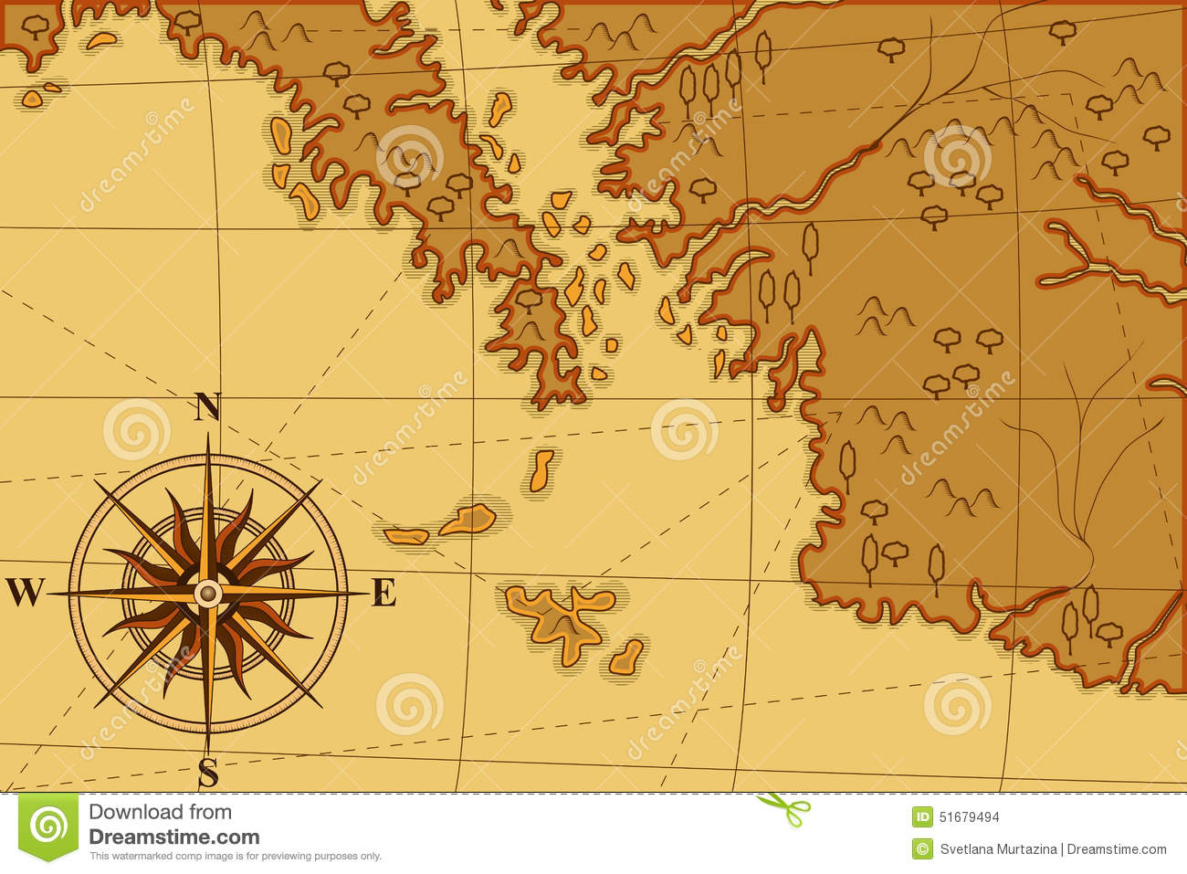 old map with a pass and trees stock vector image
