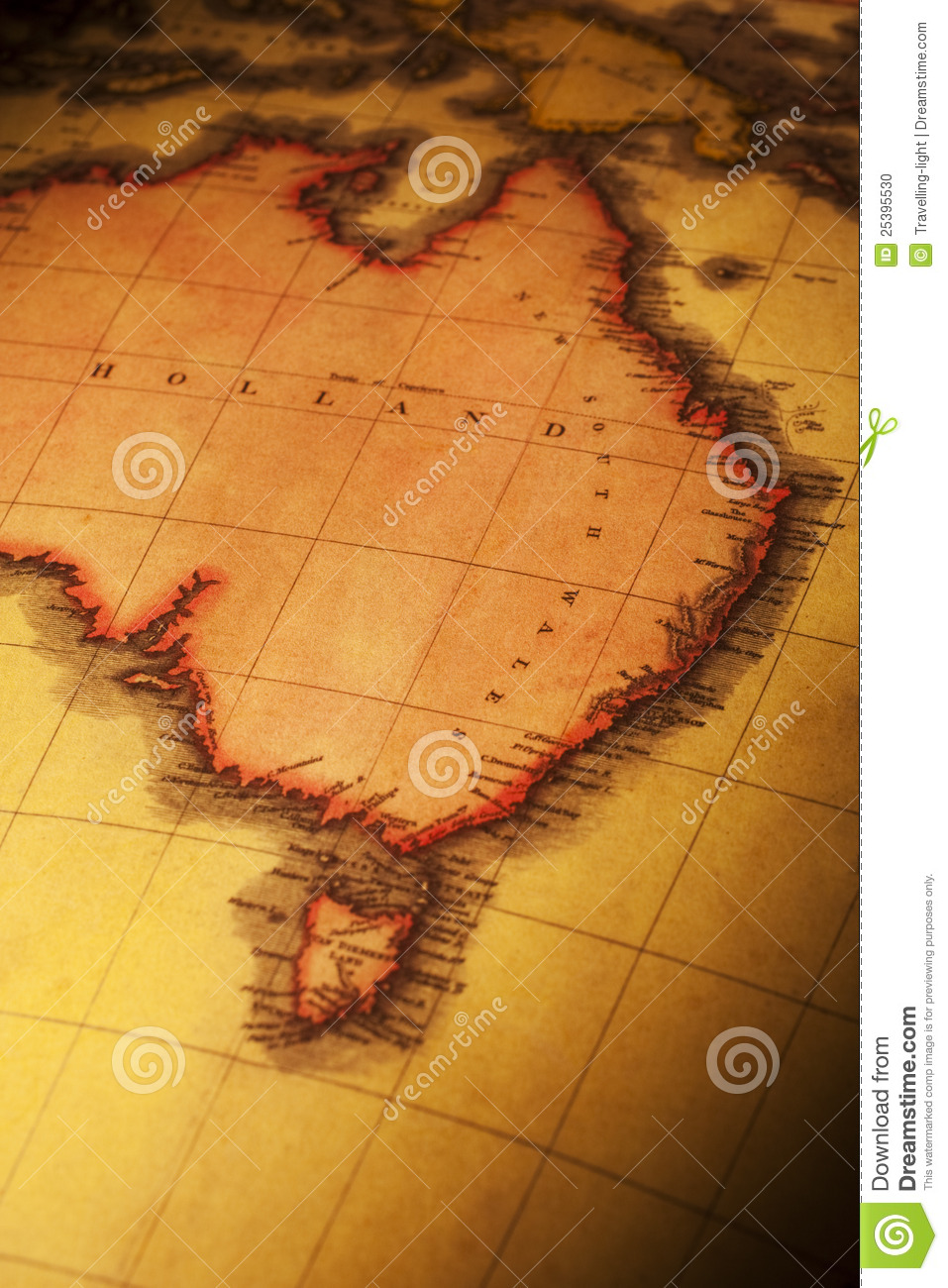 Map Of North East Australia.Old Map Of East And North Australia Stock Photo Image Of