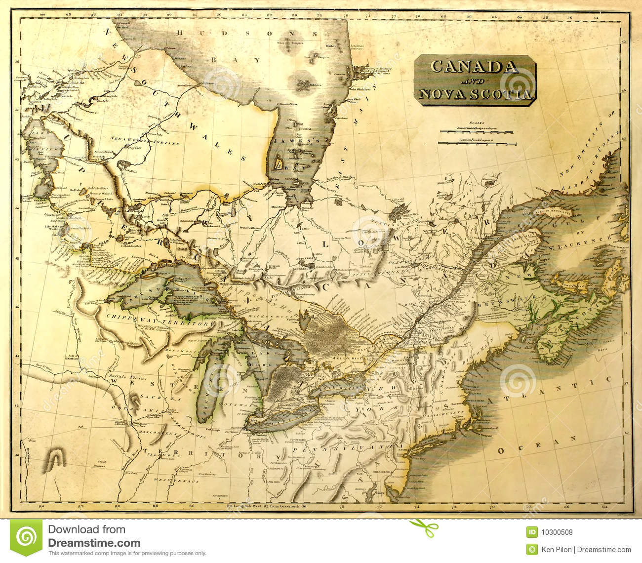 Old Map Of Eastern North America Royalty Free Stock Photos - Map of north east usa and canada