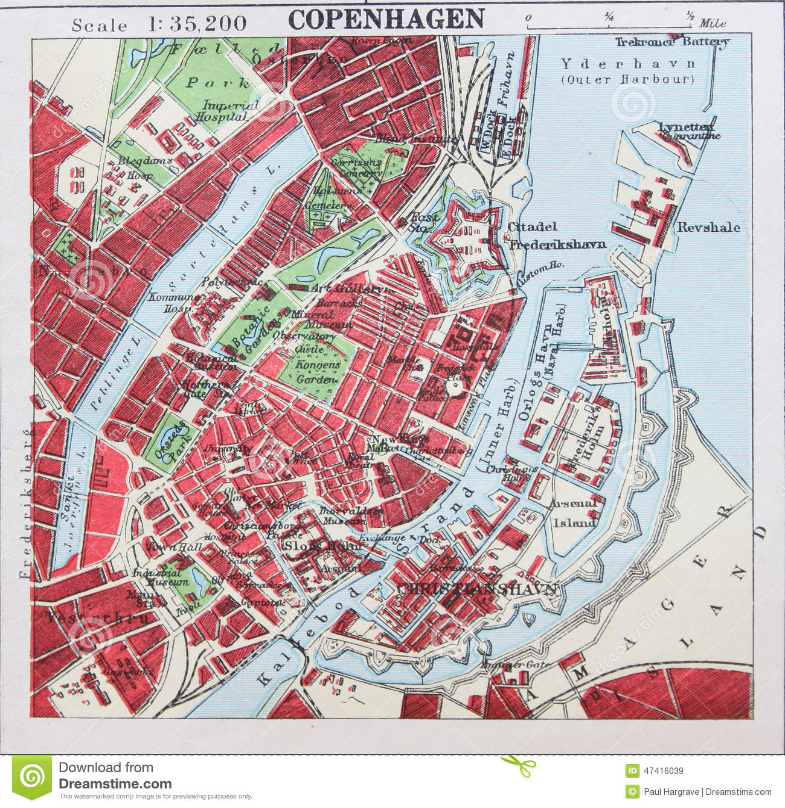 old 1945 map of the environs of copenhagen denmark stock