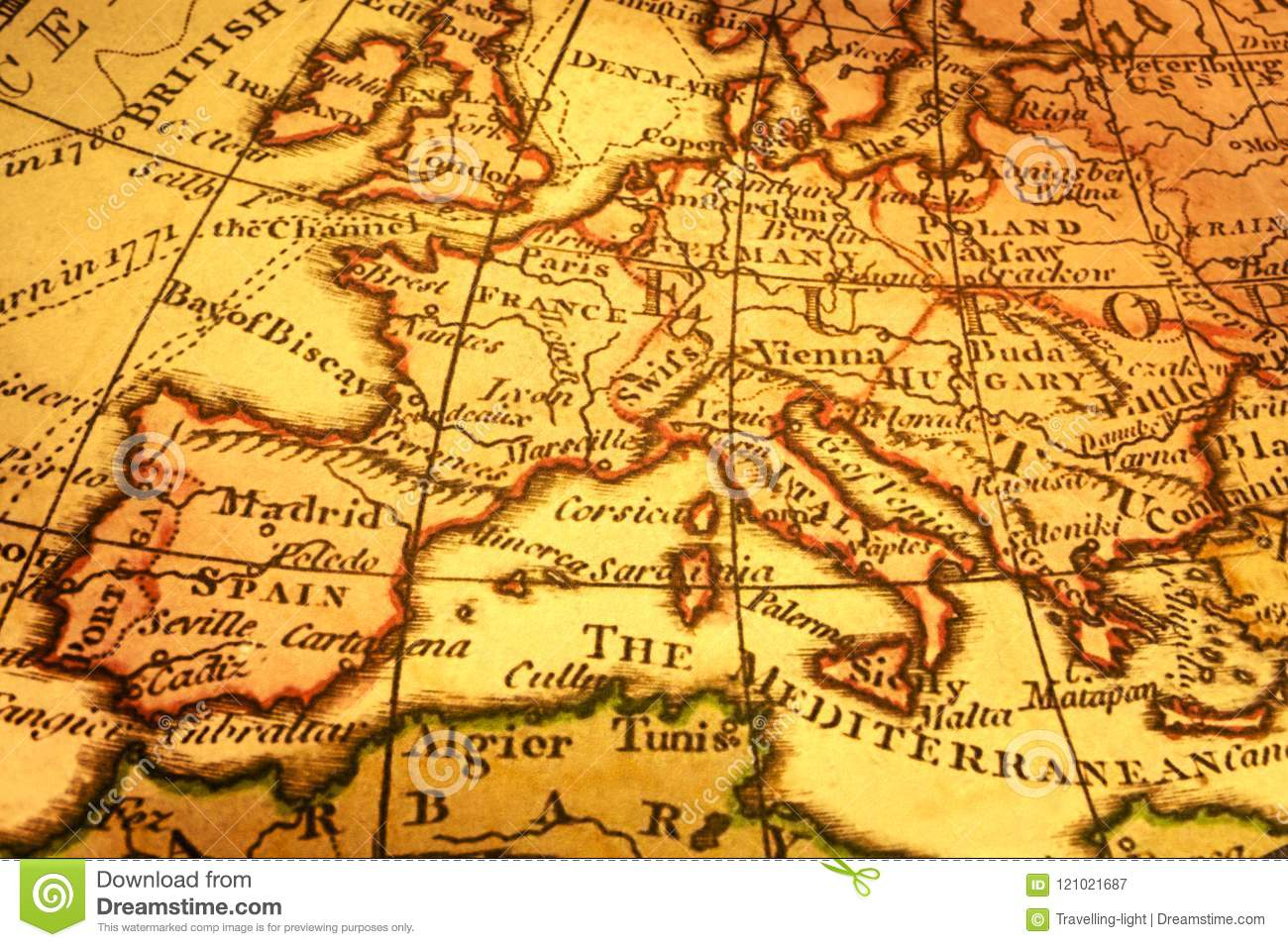 Old Map Of Europe And Mediterranean Stock Image - Image of italy ...