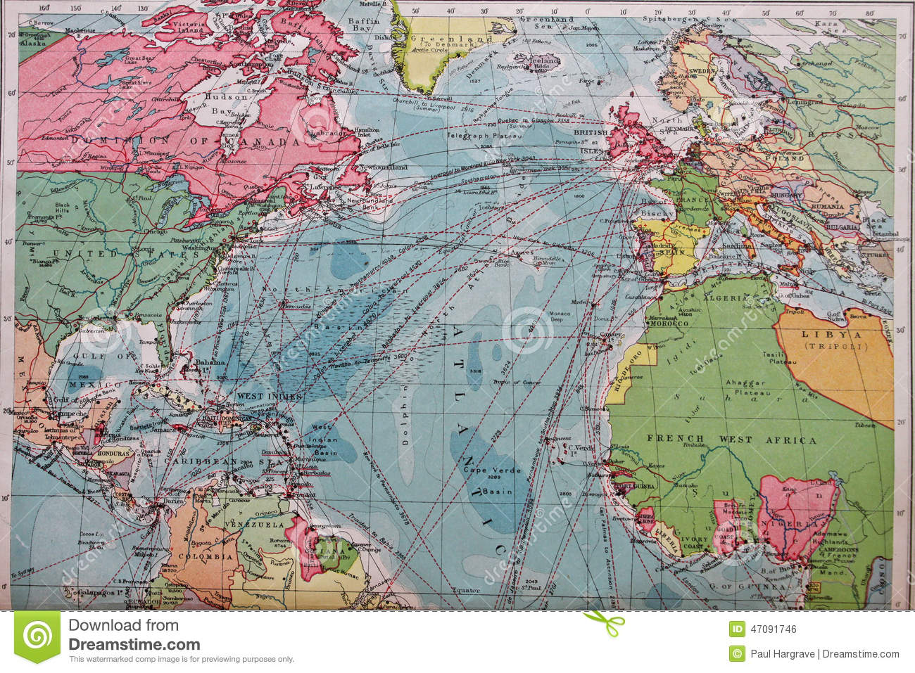 Old 1945 Map Of Europe And North America Stock Photo - Image of ...