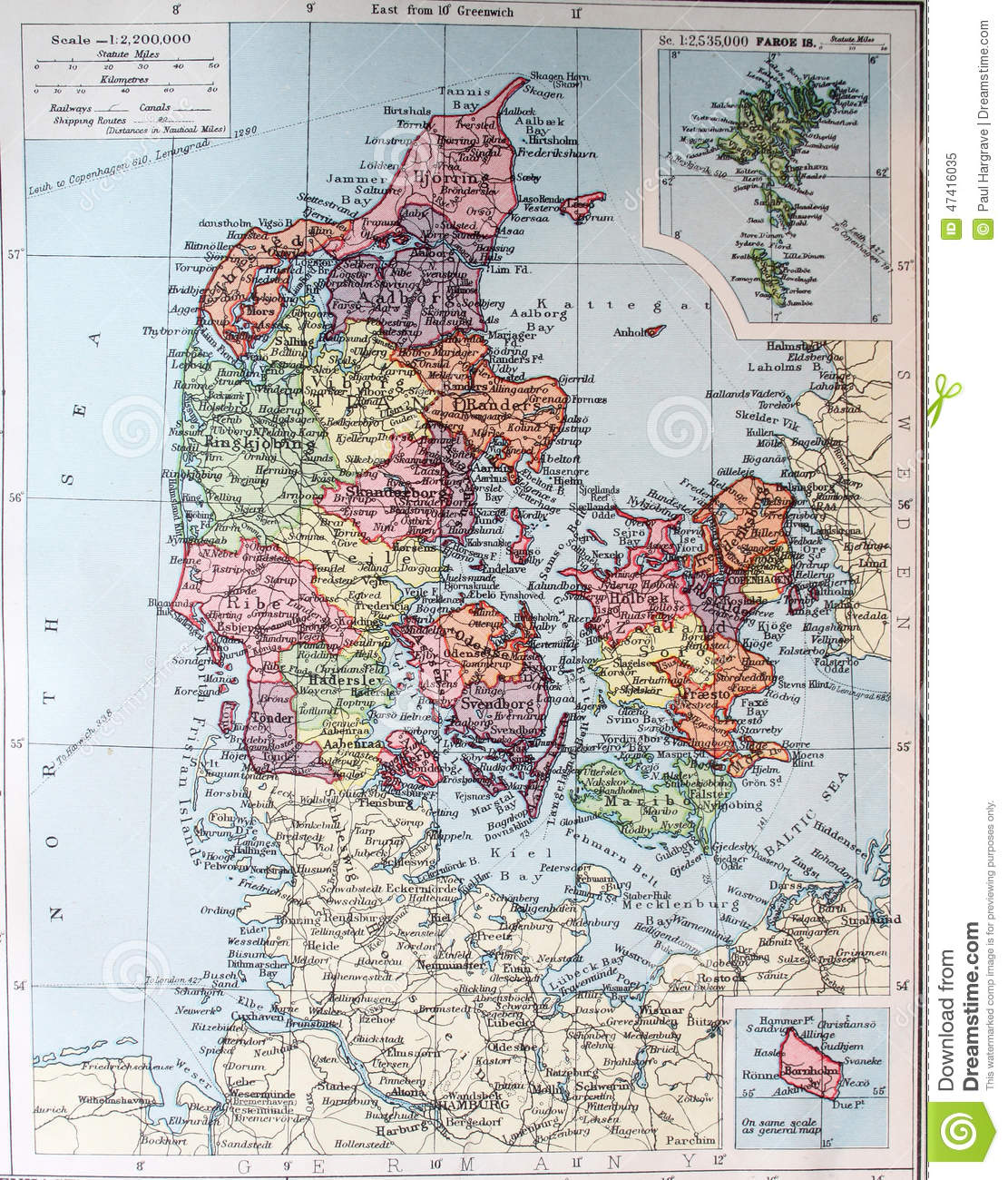 Old 1945 Map Of Faroe Islands And Denmark Stock Illustration ...